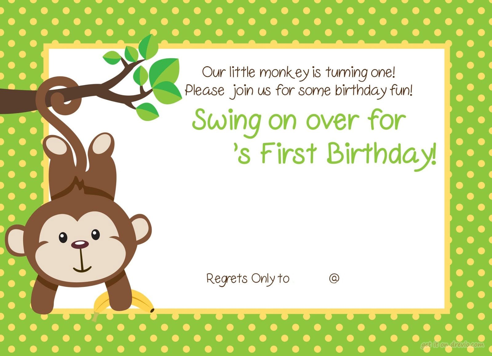 Free Printable 1st Monkey Birthday Invitation | Drevio Invitations ...