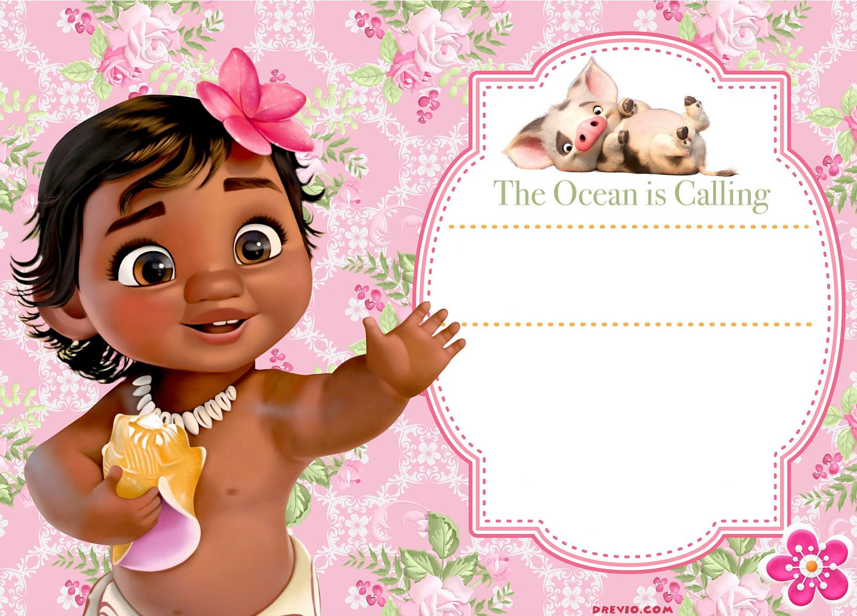 photo regarding Printable Moana Invitations identified as Absolutely free Moana Birthday Invitation Template - Totally free Invitation