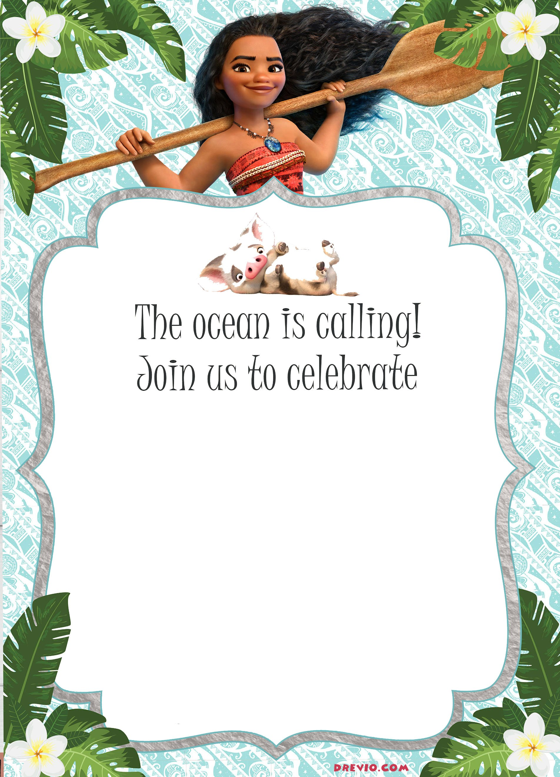 You Can Customize It With Moana Font Where Download In The Internet Write Down Your Party Details Heres Invitation