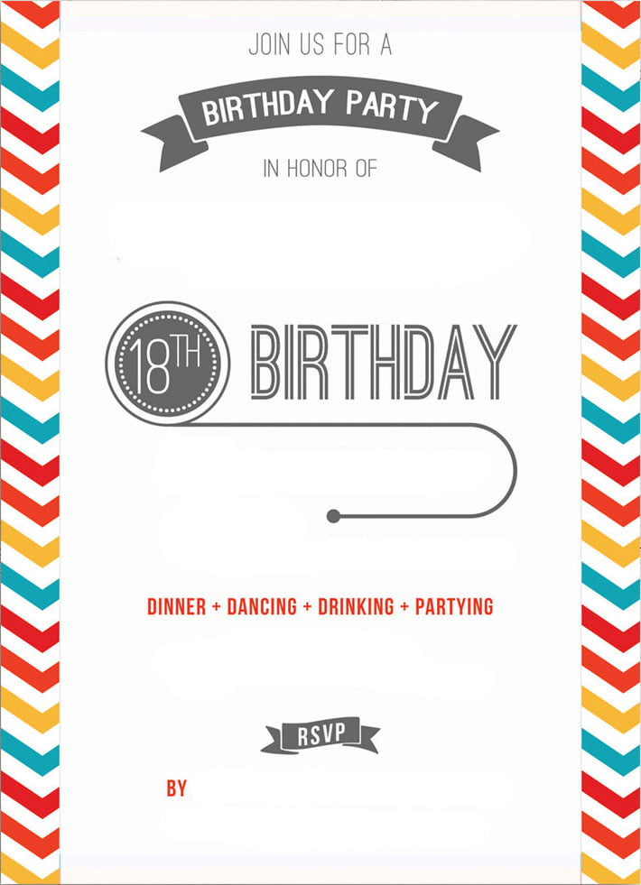 Free Printable 18th Birthday Invitation Template – Free 18th Birthday Invitation Templates