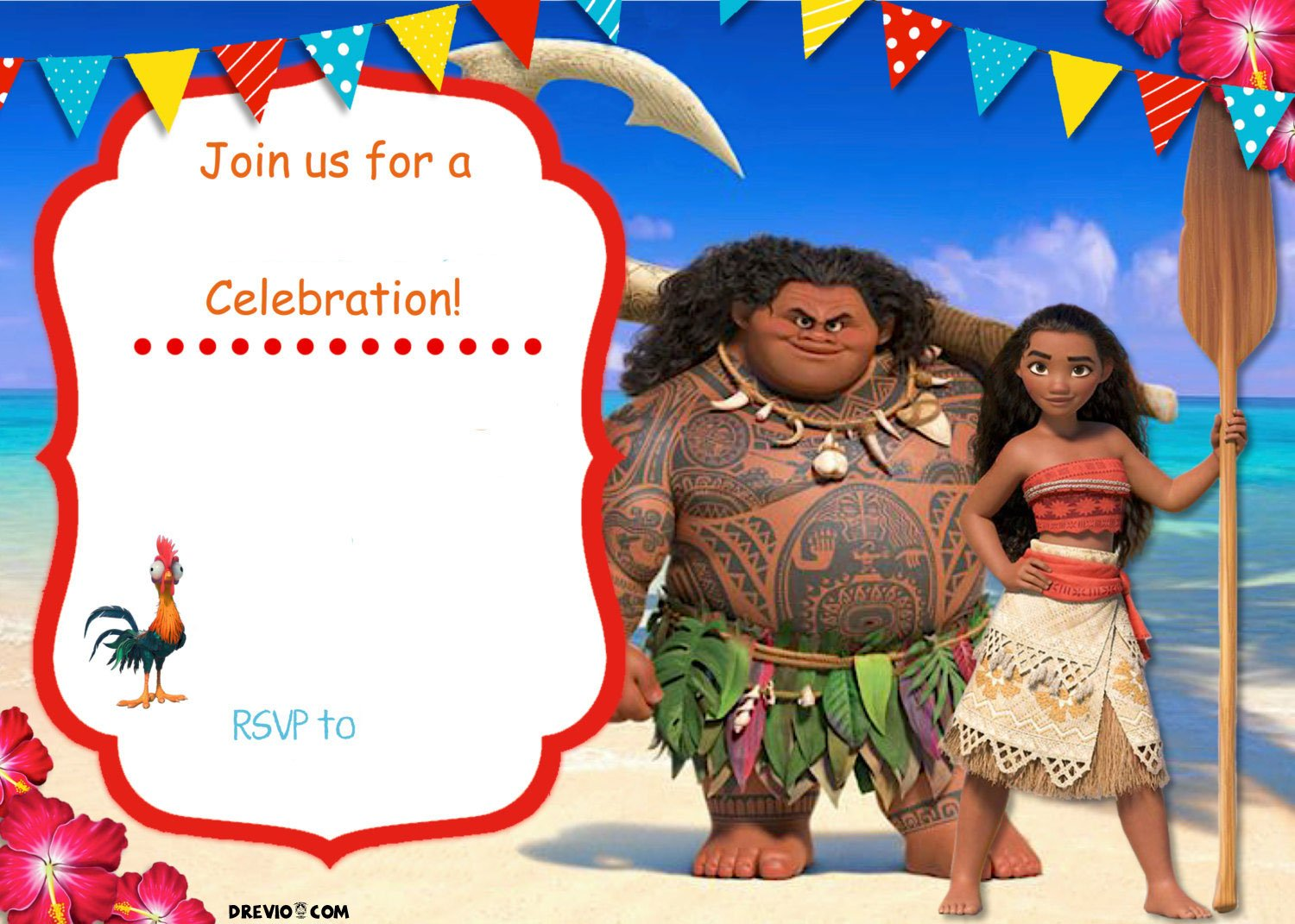 free moana birthday invitation template free invitation templates