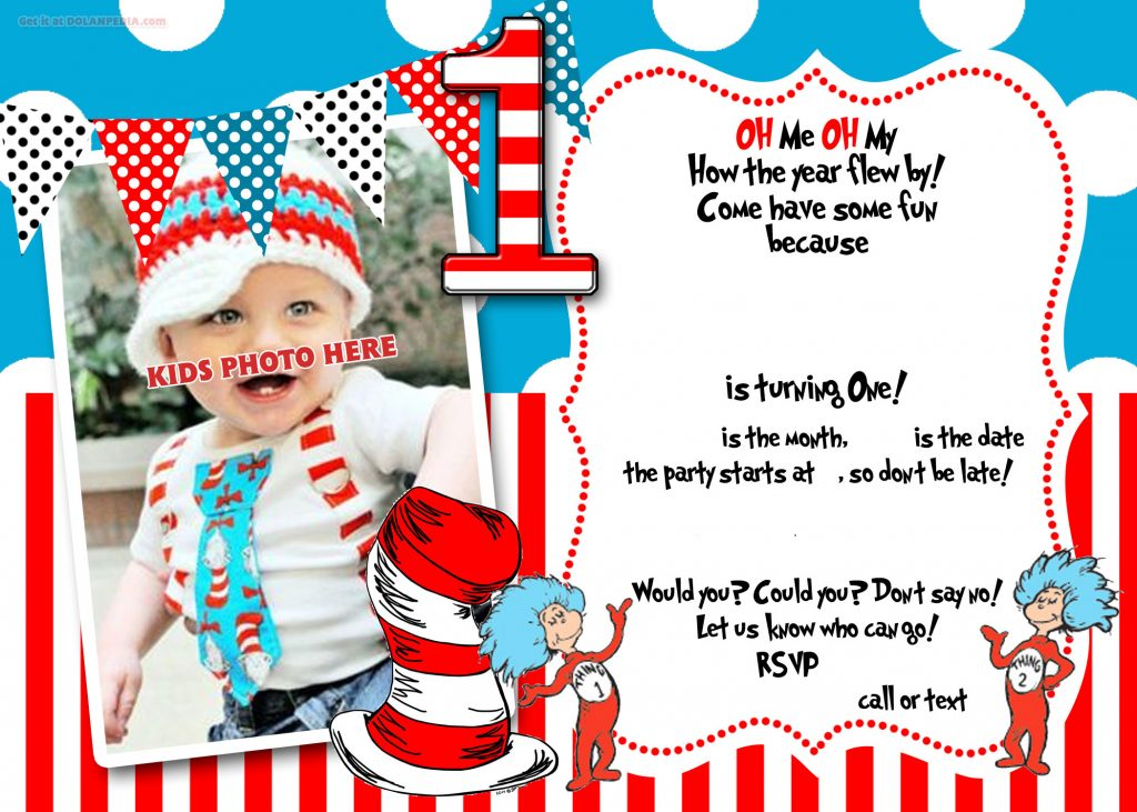 dr seuss 1st birthday invitation template- update