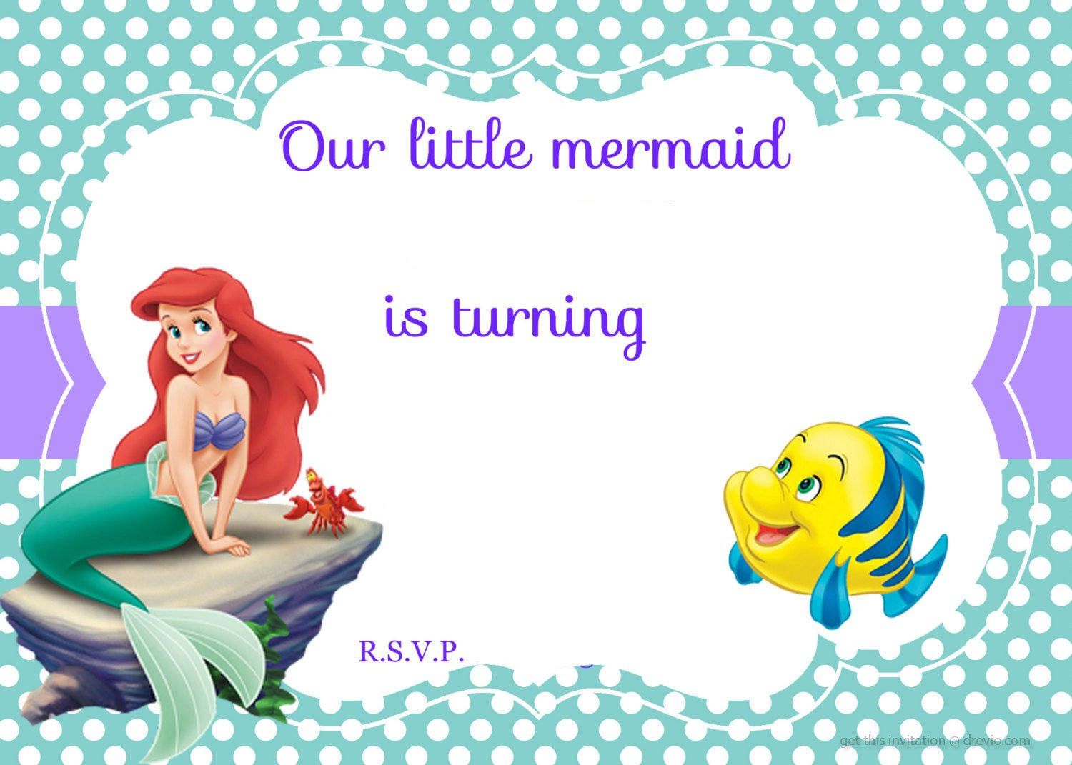 Updated Free Printable Ariel The Little Mermaid Invitation Template - Little mermaid birthday invitation template