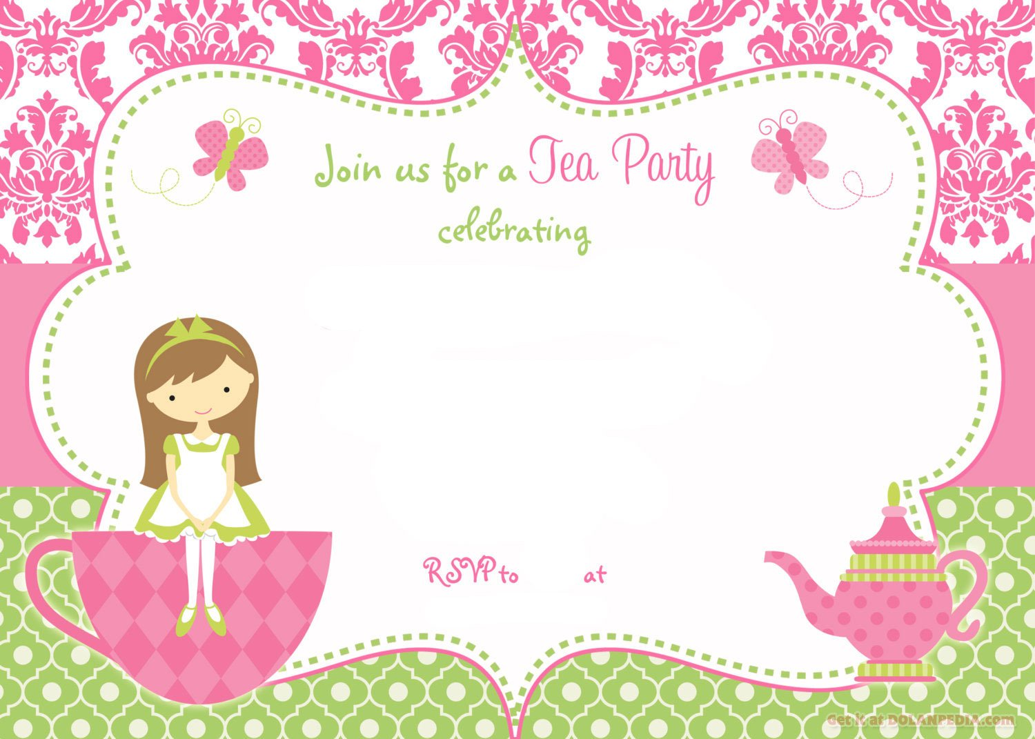 Free Printable Tea Party Invitation Template for Girl – Tea Party Invitations Free Template