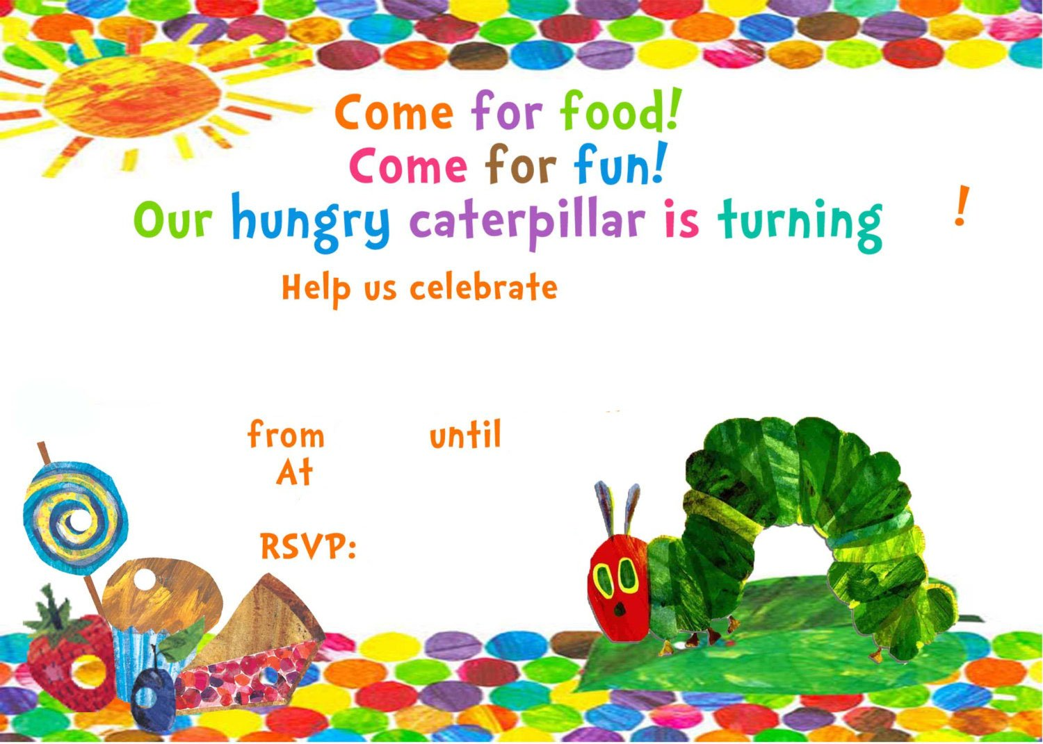 Very Hungry Caterpillar Invitation Template FREE Printable FREE