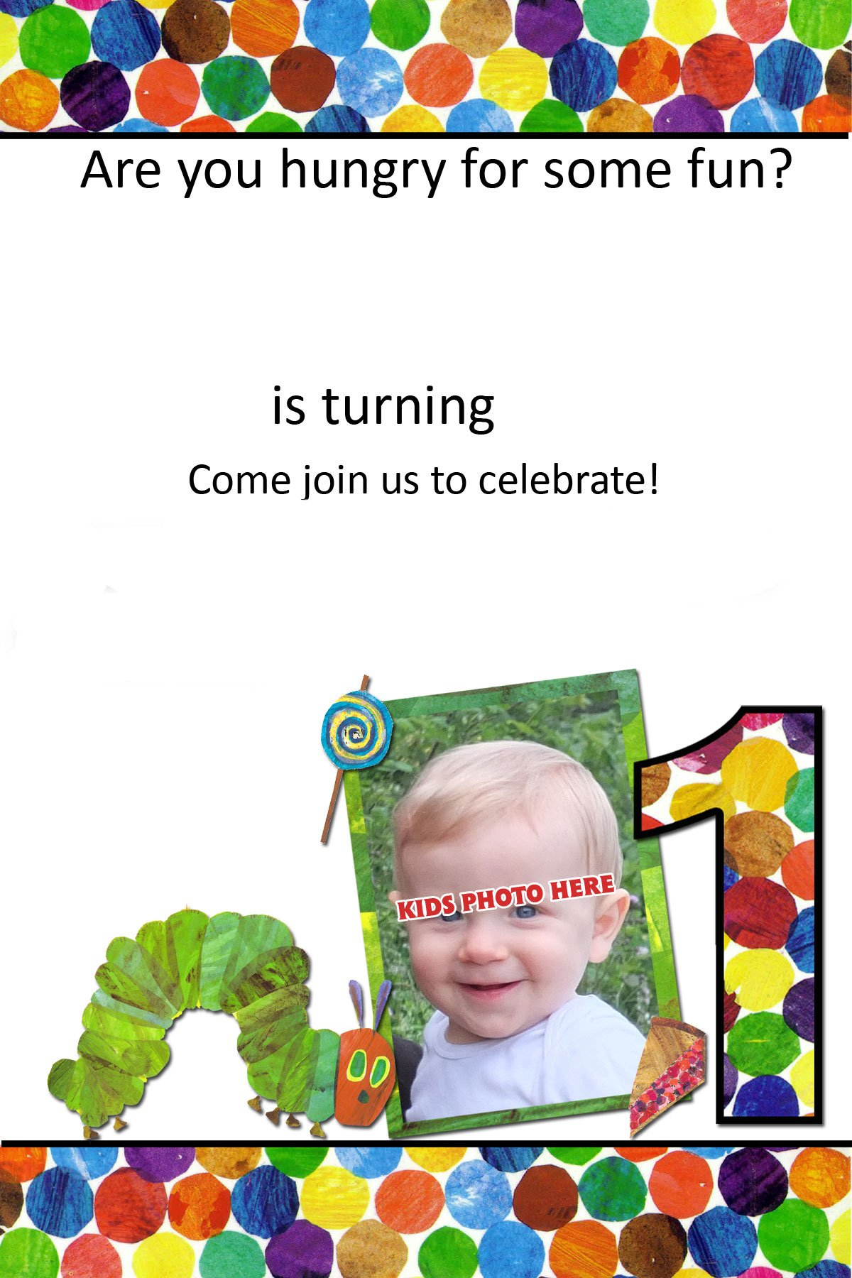 Free printable very hungry caterpillar 1st invitation for Very hungry caterpillar templates free