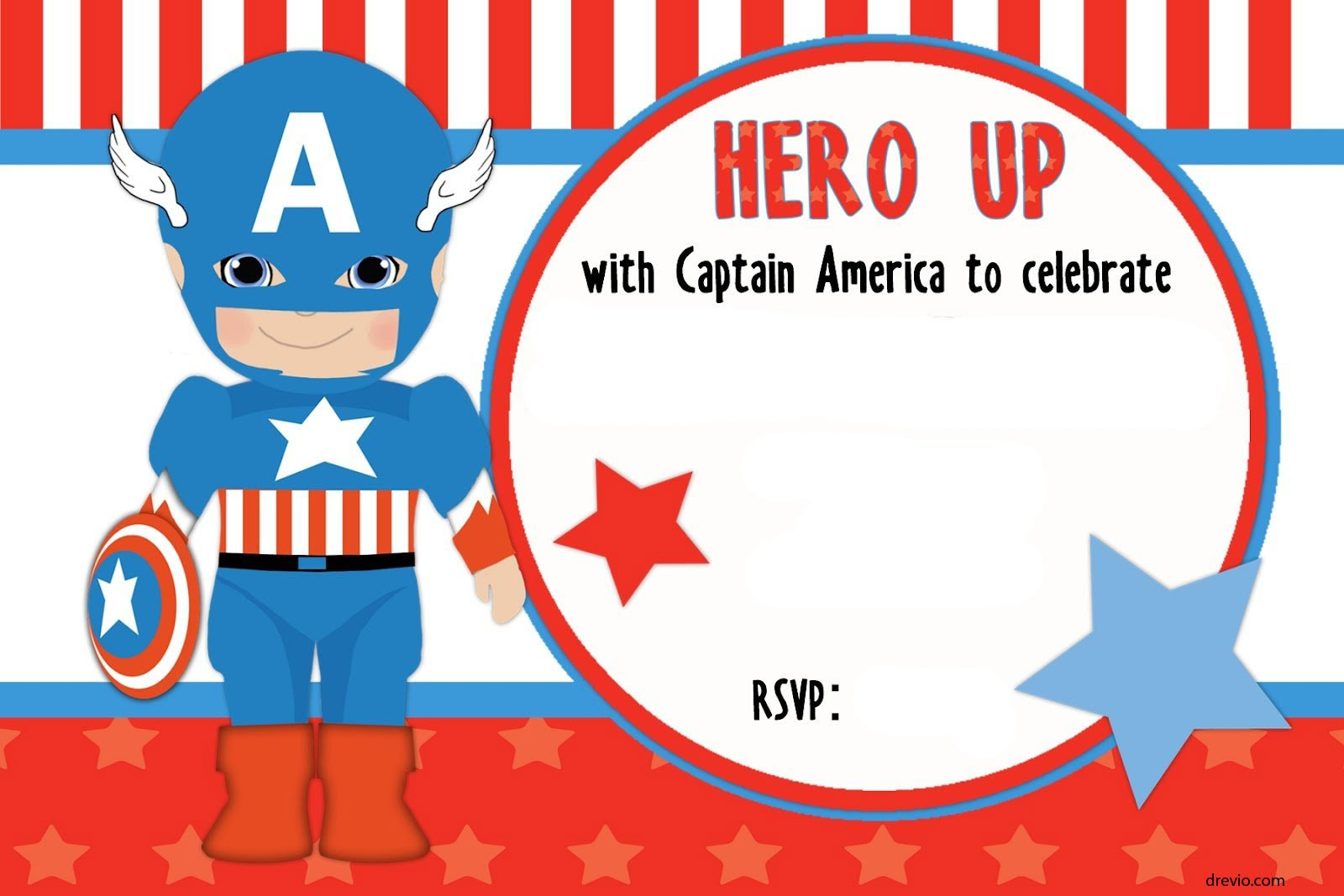 FREE Printable Captain America Birthday Invitation Template - Free birthday invitation templates superhero