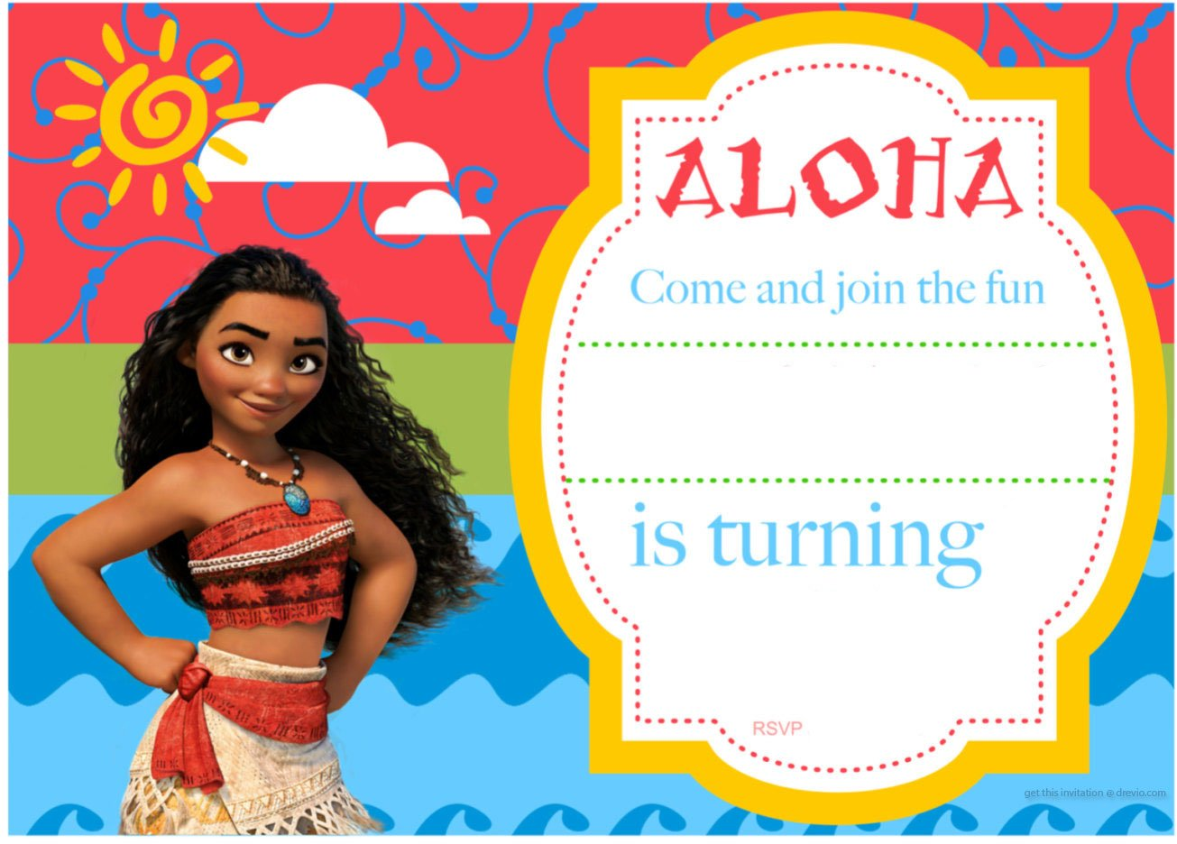 Gargantuan image with printable moana invitations