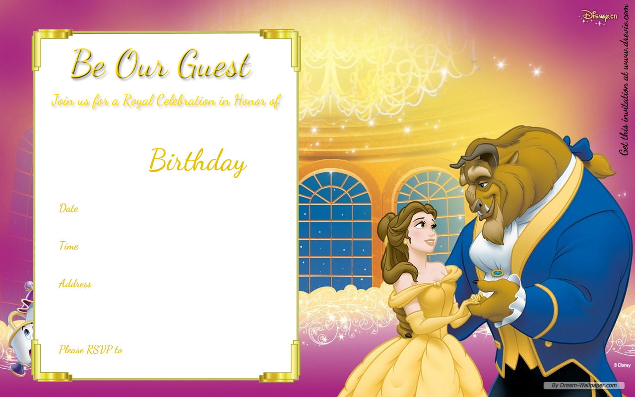 Free printable beauty and the beast royal invitation template free write down the party details like time date and location dont forget the rsvp number too it measures 57 with high quality hd image filmwisefo