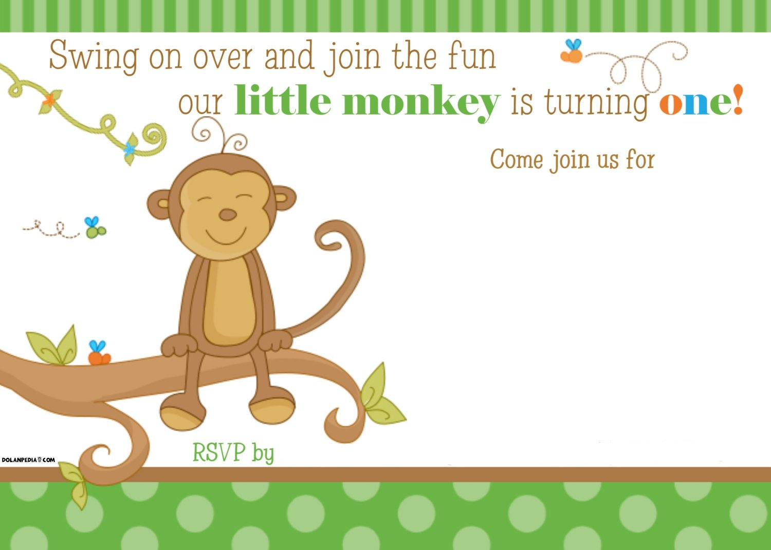 FREE Printable Little Monkey Birthday Invitation Template | Drevio ...
