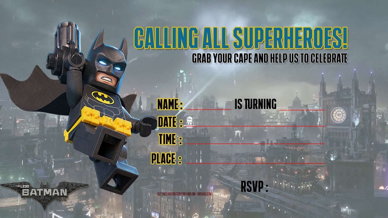 FREE Printable LEGO Batman The Movie Invitation Template Drevio - Lego birthday invitation template free