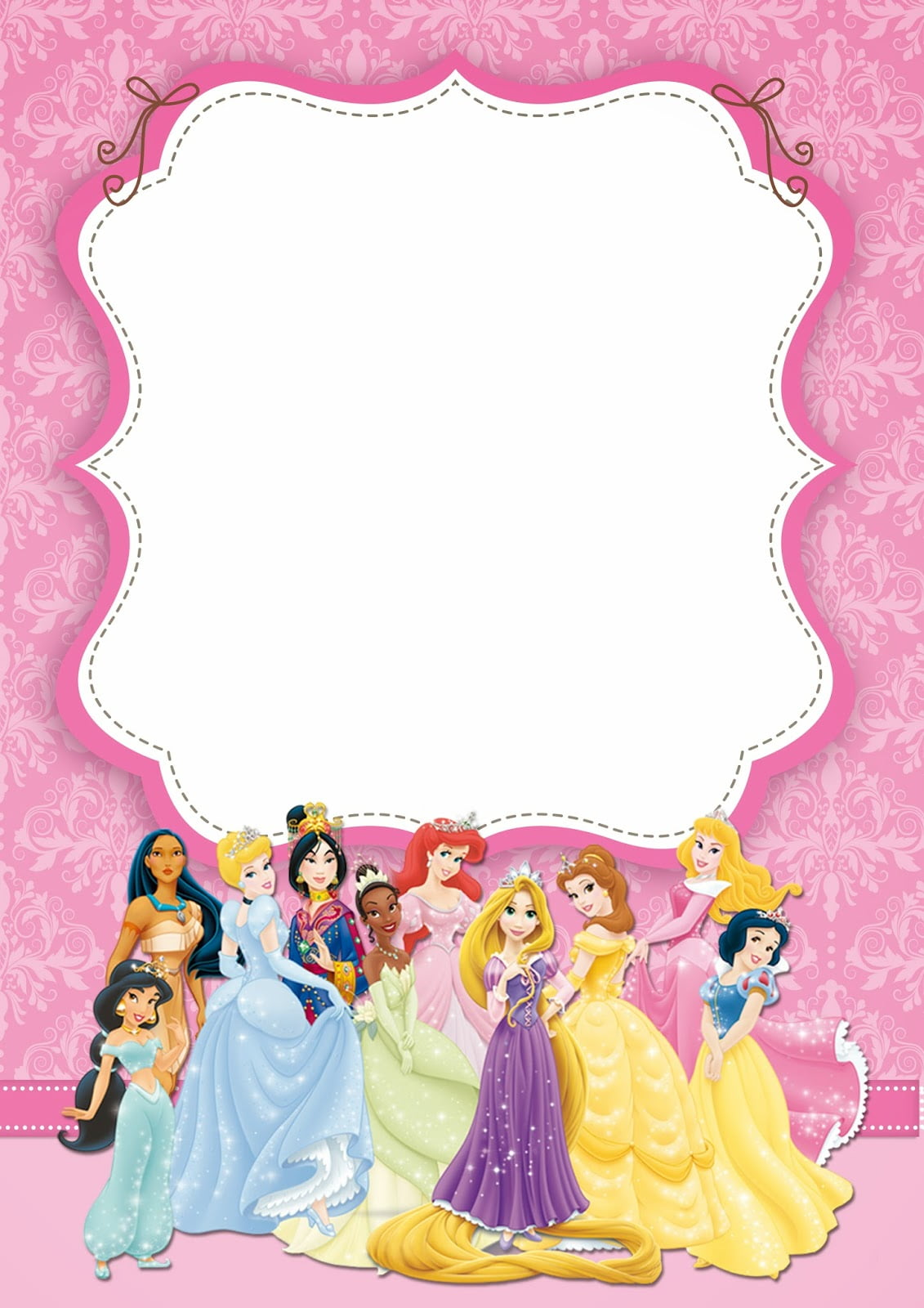 free printable disney princess ticket invitation template