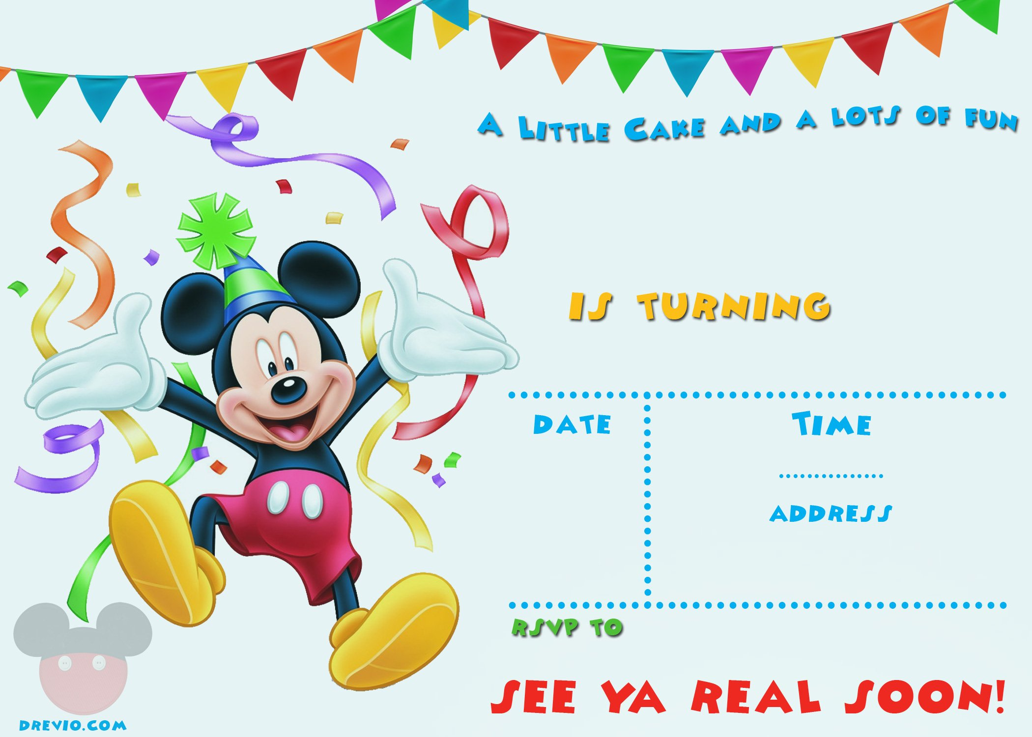 FREE Printable Mickey Mouse Party Invitation Template | Drevio ...