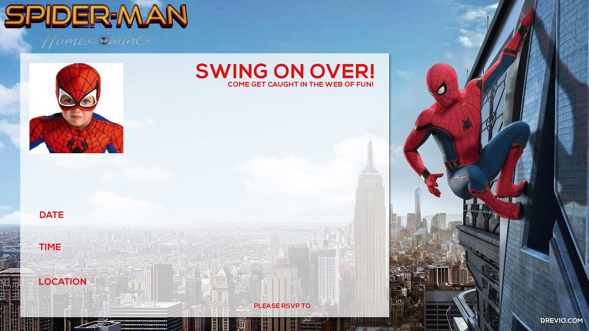 FREE Printable Spiderman Homecoming Birthday Invitation Template ...