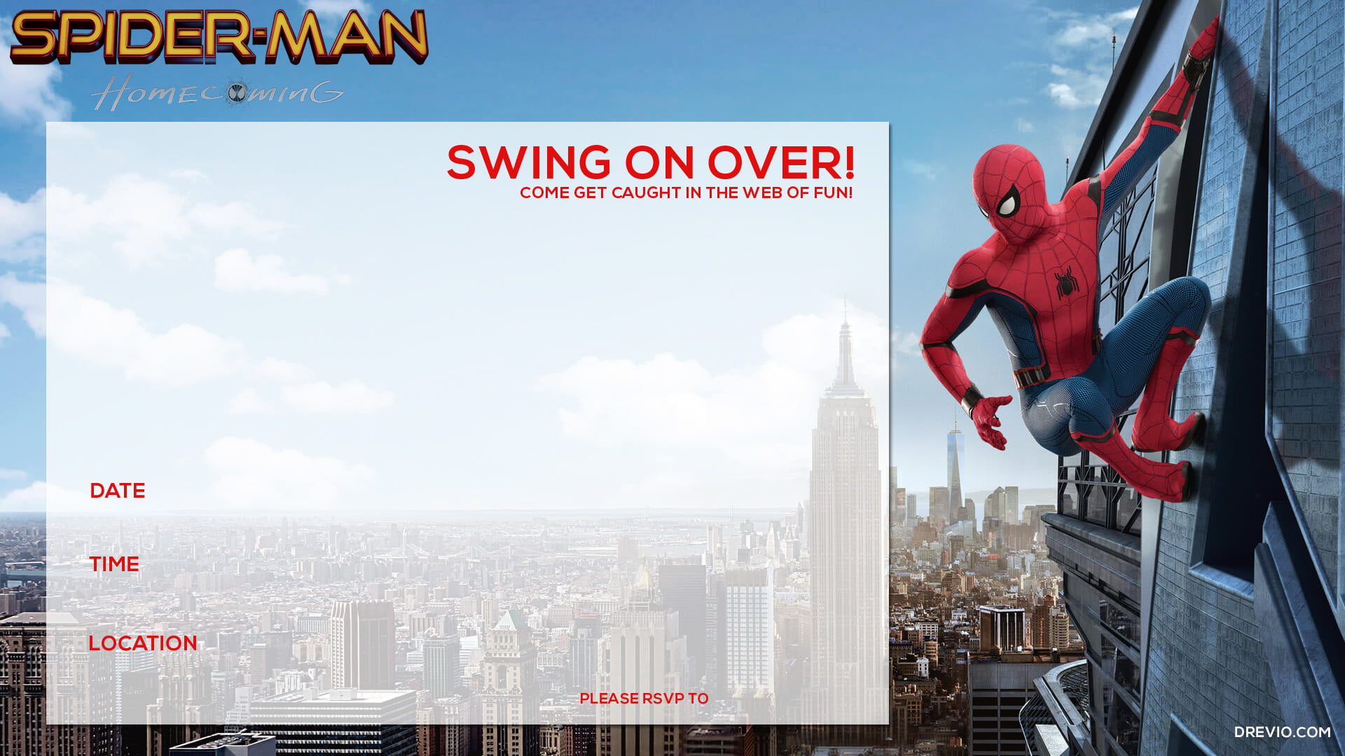 Free printable spiderman homecoming birthday invitation template we attach two versions of this spiderman homecoming invitation you can choose one of the best and any invitation you want stopboris Choice Image