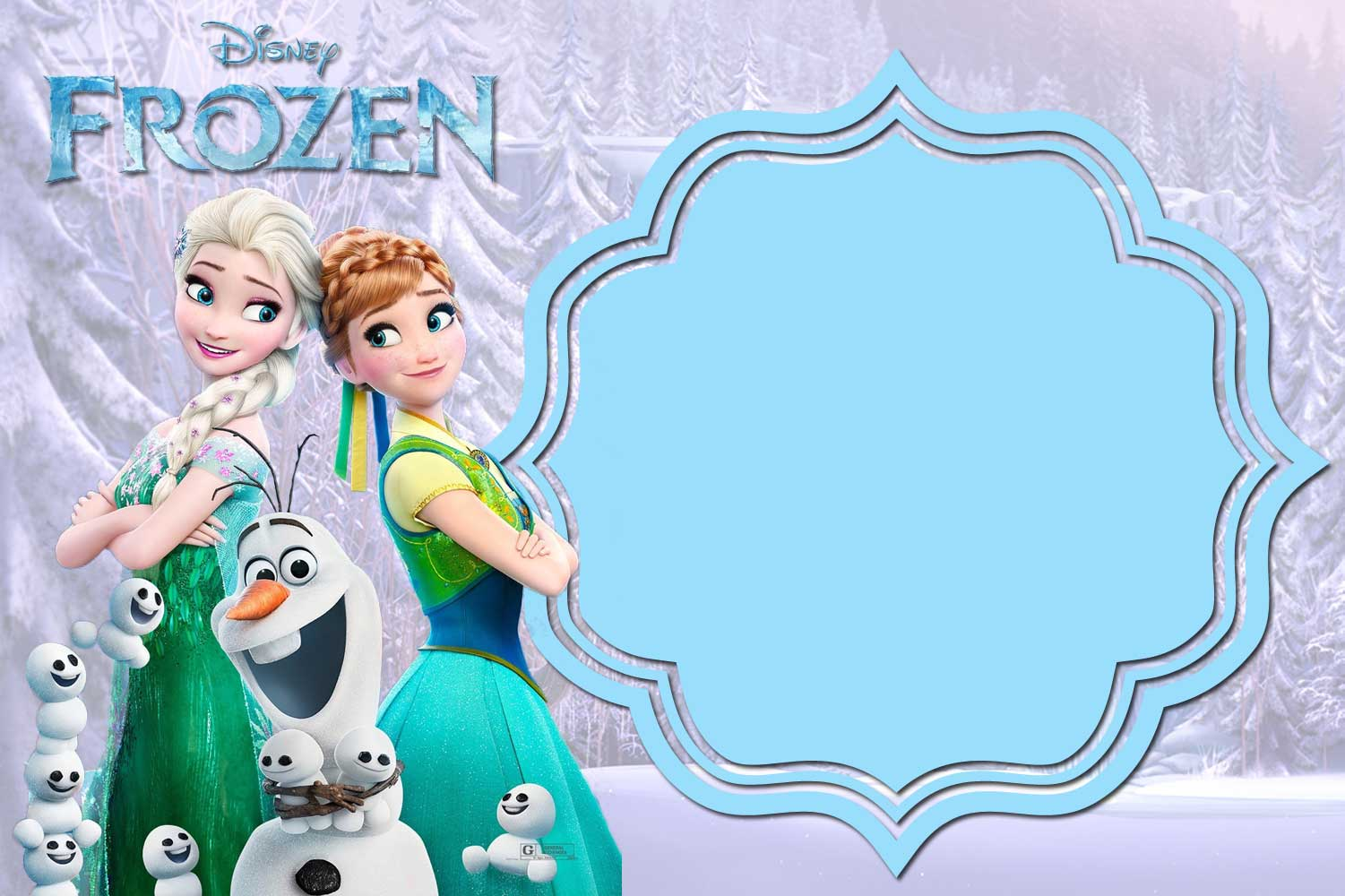 Juicy image for free printable frozen invitation templates