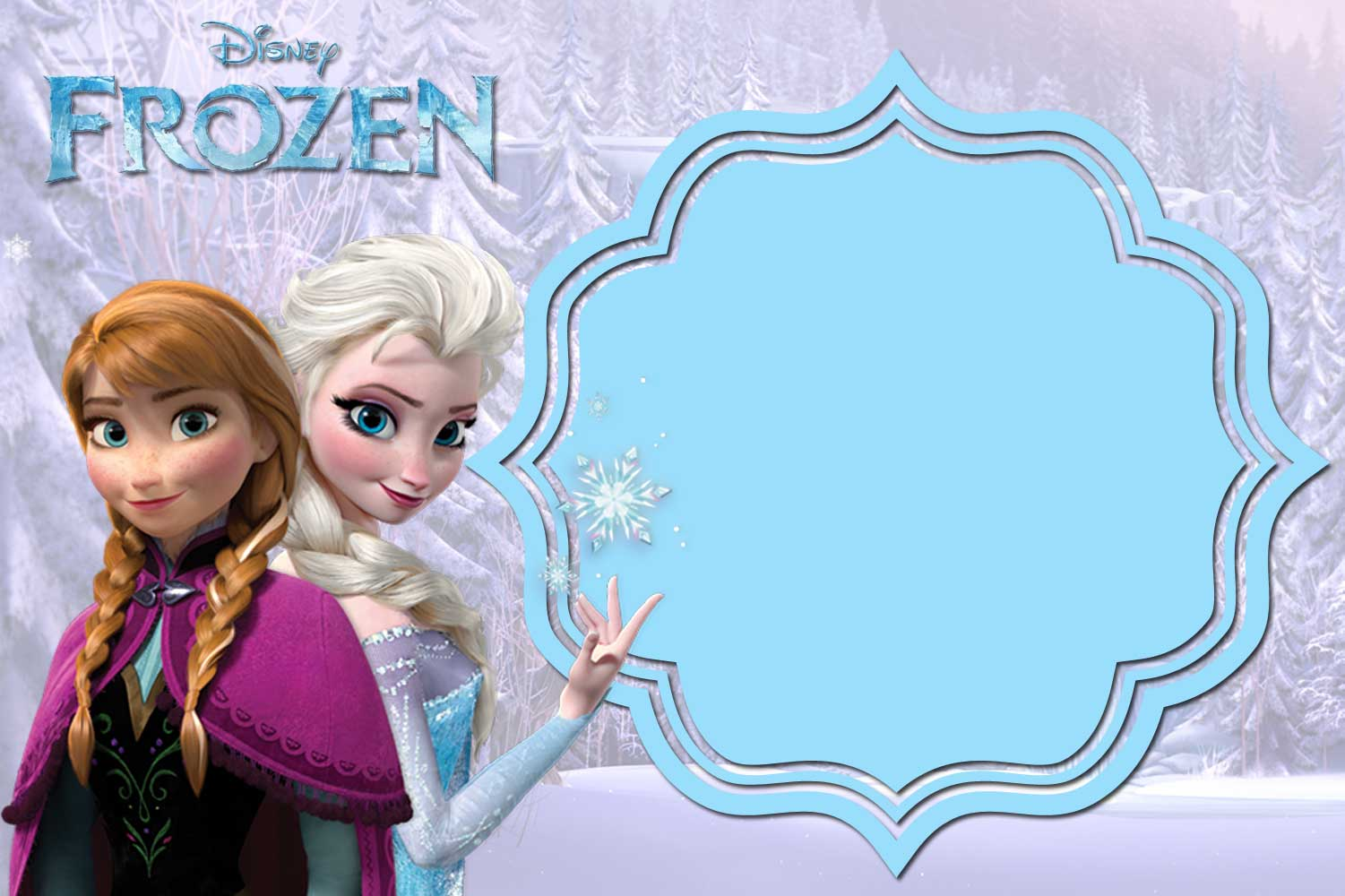 Comprehensive image for free printable frozen invitation templates