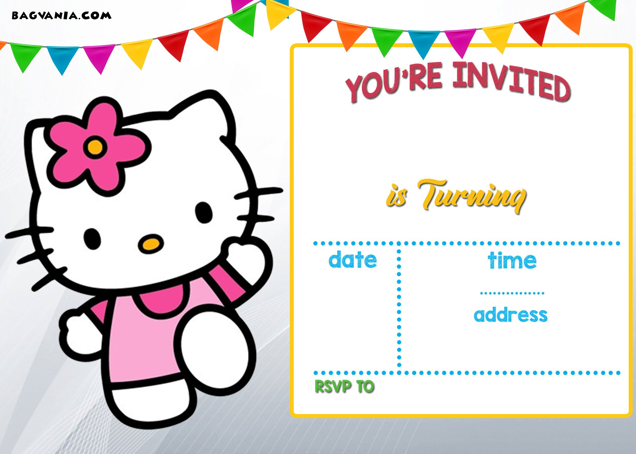 FREE Hello Kitty Invitation Templates Drevio Invitations Design - Free hello kitty birthday invitation templates
