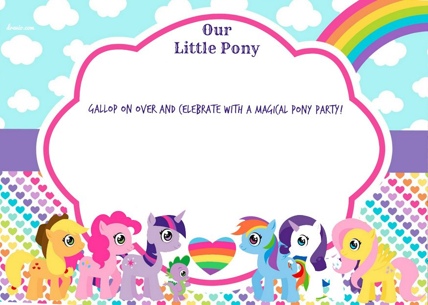 the blank my little pony invitations design version