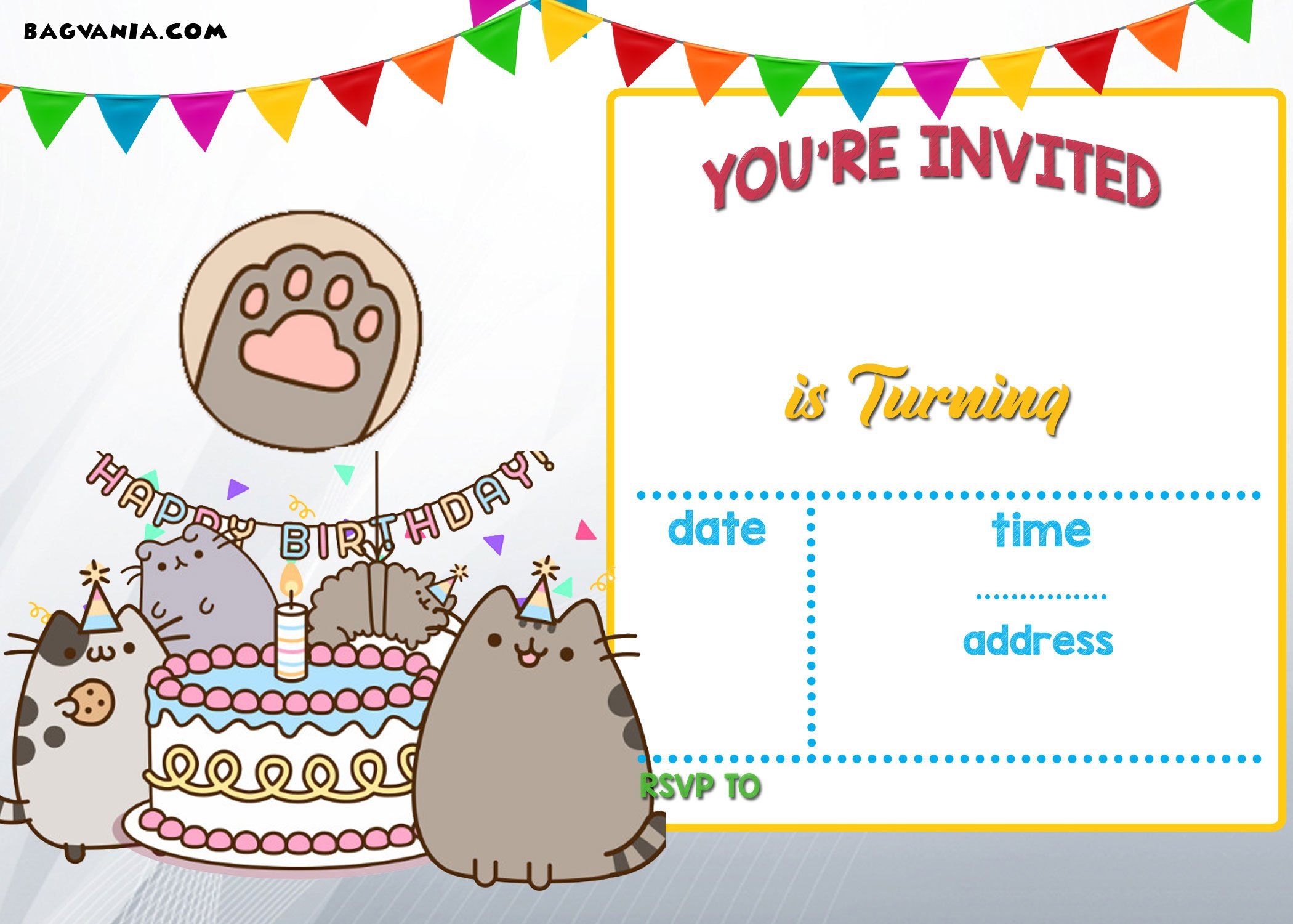 Free printable pusheen birthday invitation template drevio you can add your own text and customize it you will love it when you know youre able to customize this pusheen invitation template filmwisefo
