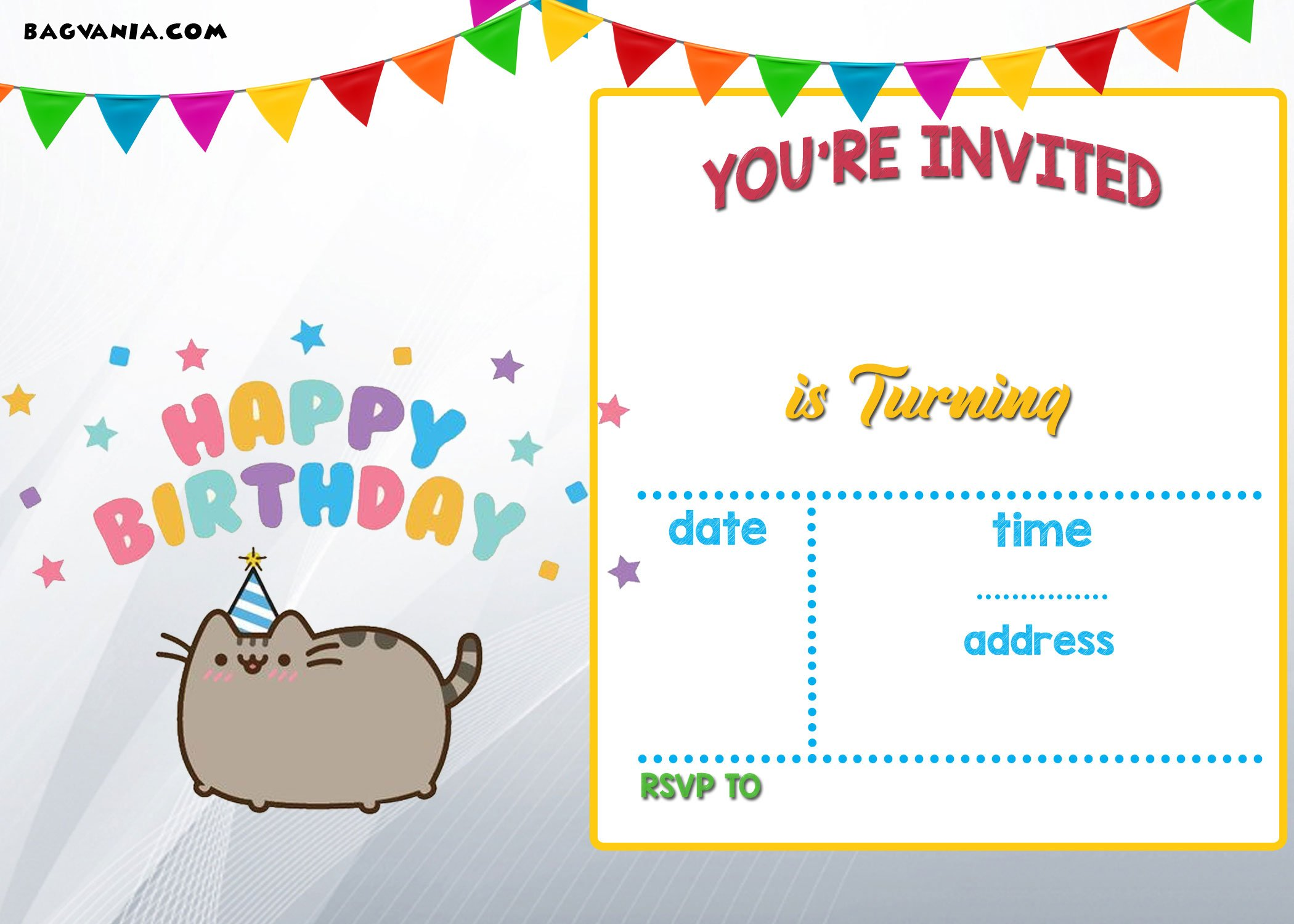 Free printable pusheen birthday invitation template free for Free printable invitation templates
