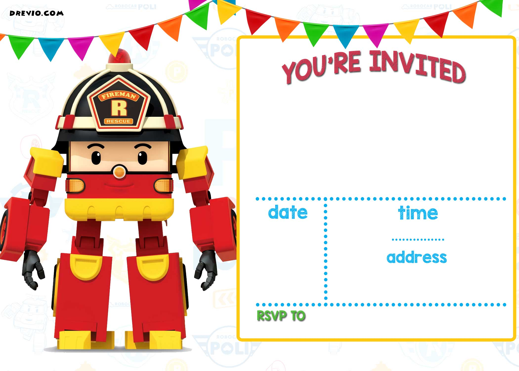 free printable robocar poli invitation template