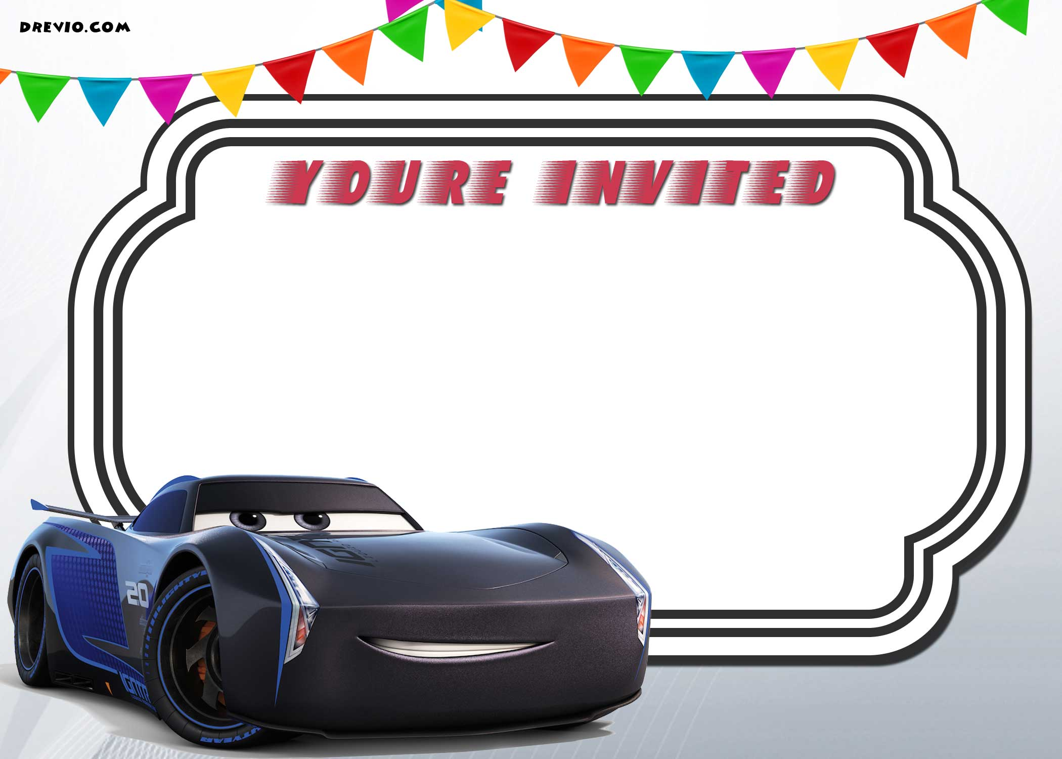 free printable cars 3 lightning mcqueen invitation