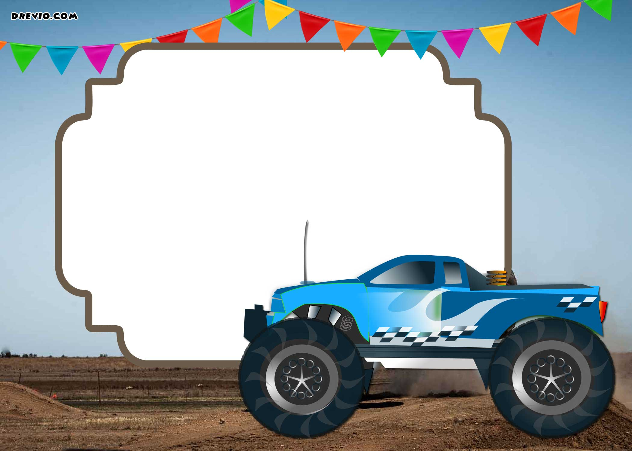 monster trucks invitation templates  u2013 free printable