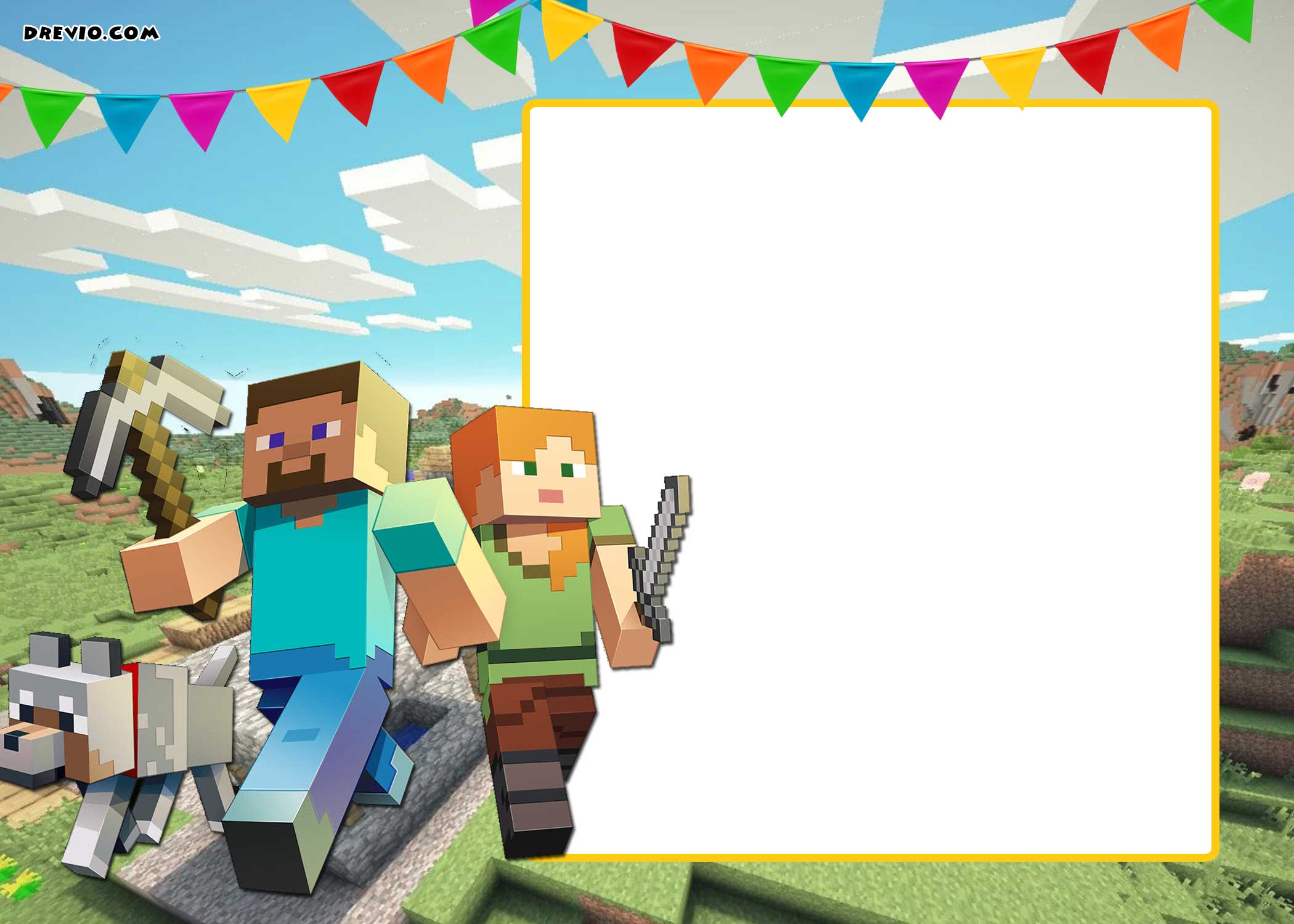 Free Printable Minecraft Birthday Invitation Template Drevio