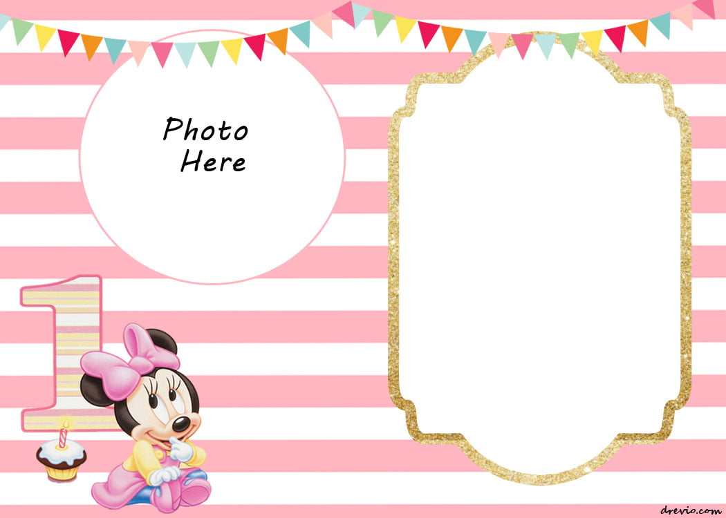 FREE Printable Minnie Mouse St Invitation Templates Drevio - Free 1st birthday invitation templates printable
