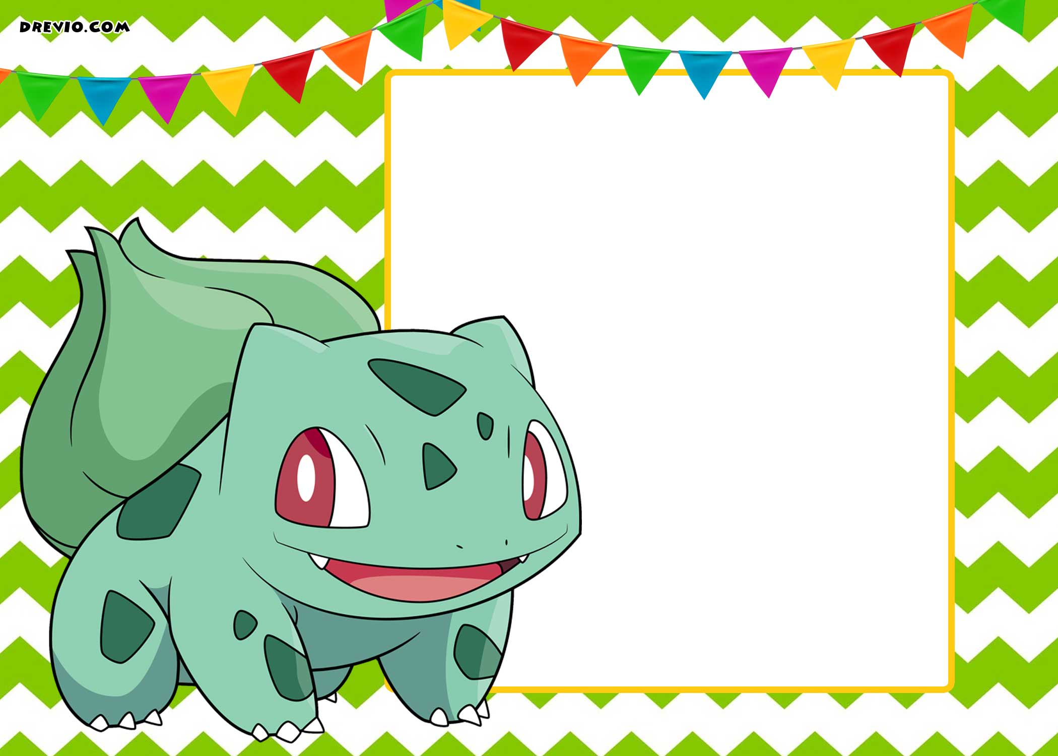 photograph regarding Free Printable Pokemon called Totally free-Printable-Pokemon-Bulbasaur-Birthday-Invitation