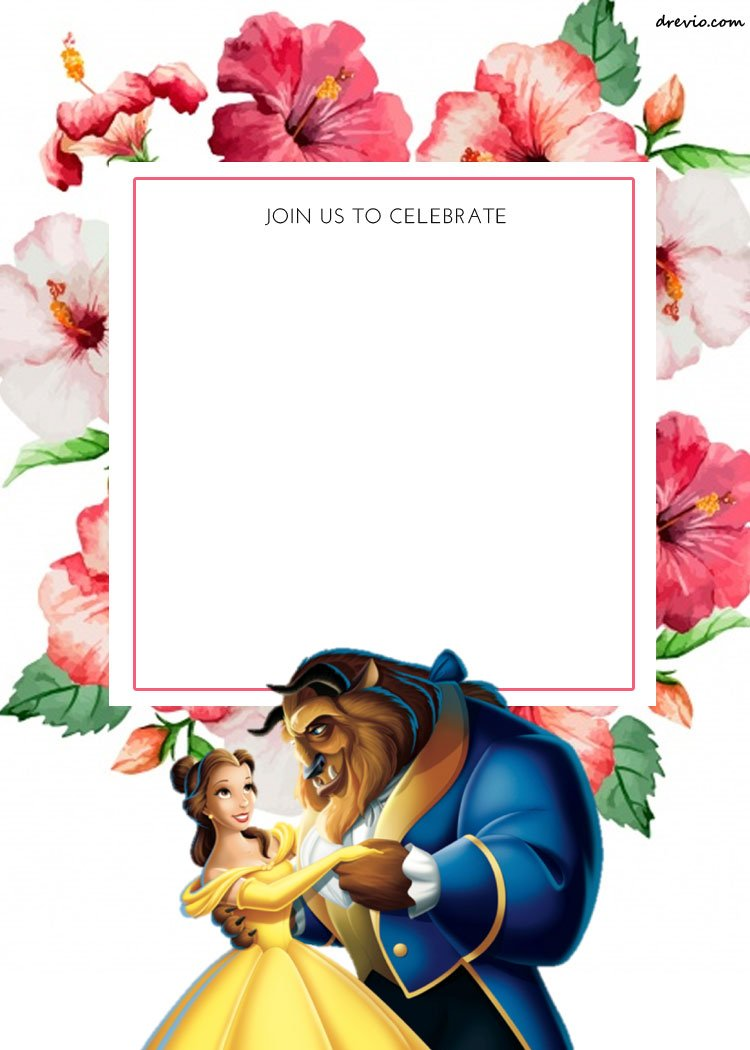 FREE Printable Romantic Beauty And The Beast Floral Invitation