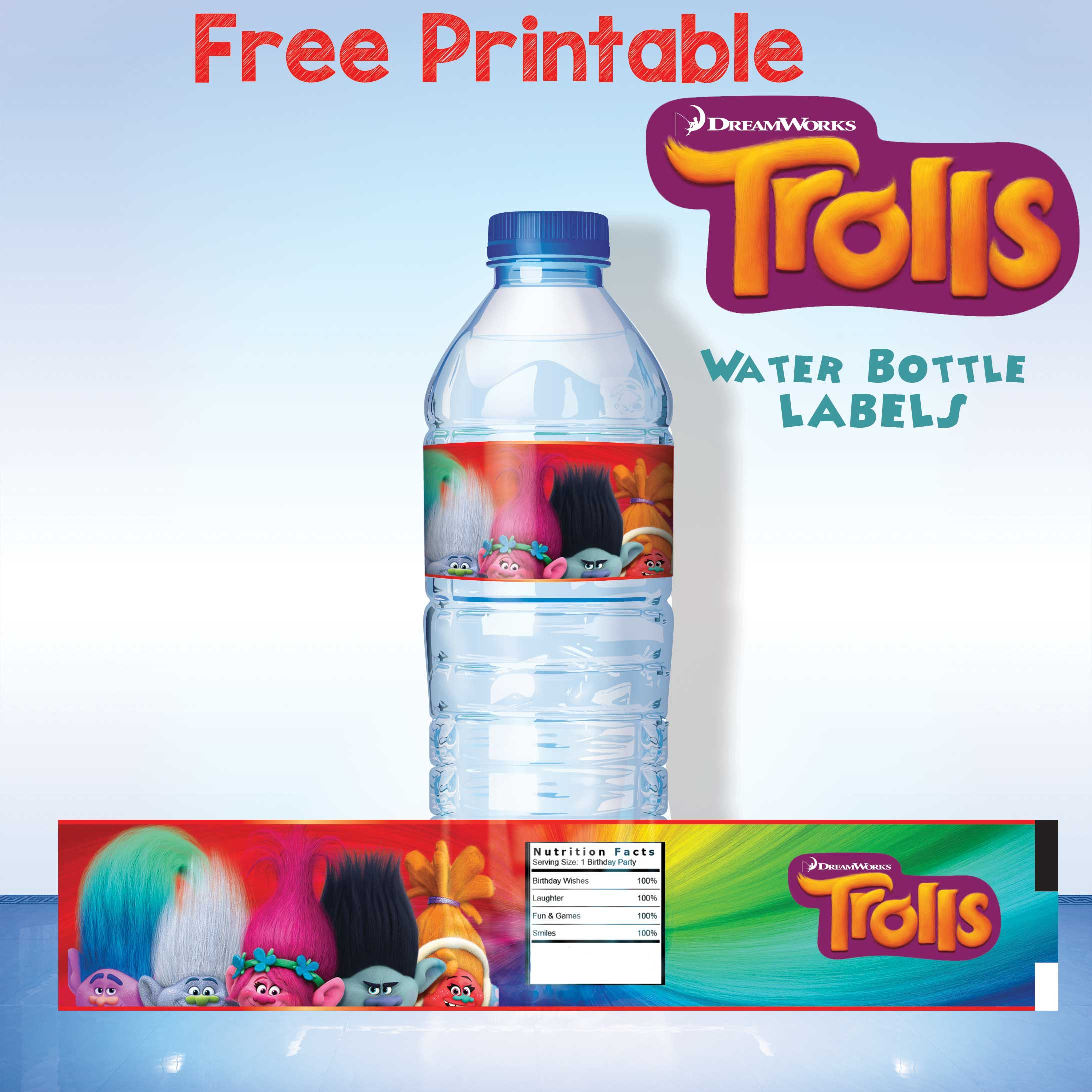 image about Printable Water Bottle Labels Free known as No cost Printable Trolls H2o Bottle Label No cost Invitation