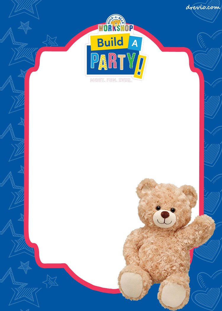 Free build a bear birthday invitation template drevio invitations write down your build a bear invitation with simple wording that contains time date and location of the party you can attach your photo too filmwisefo