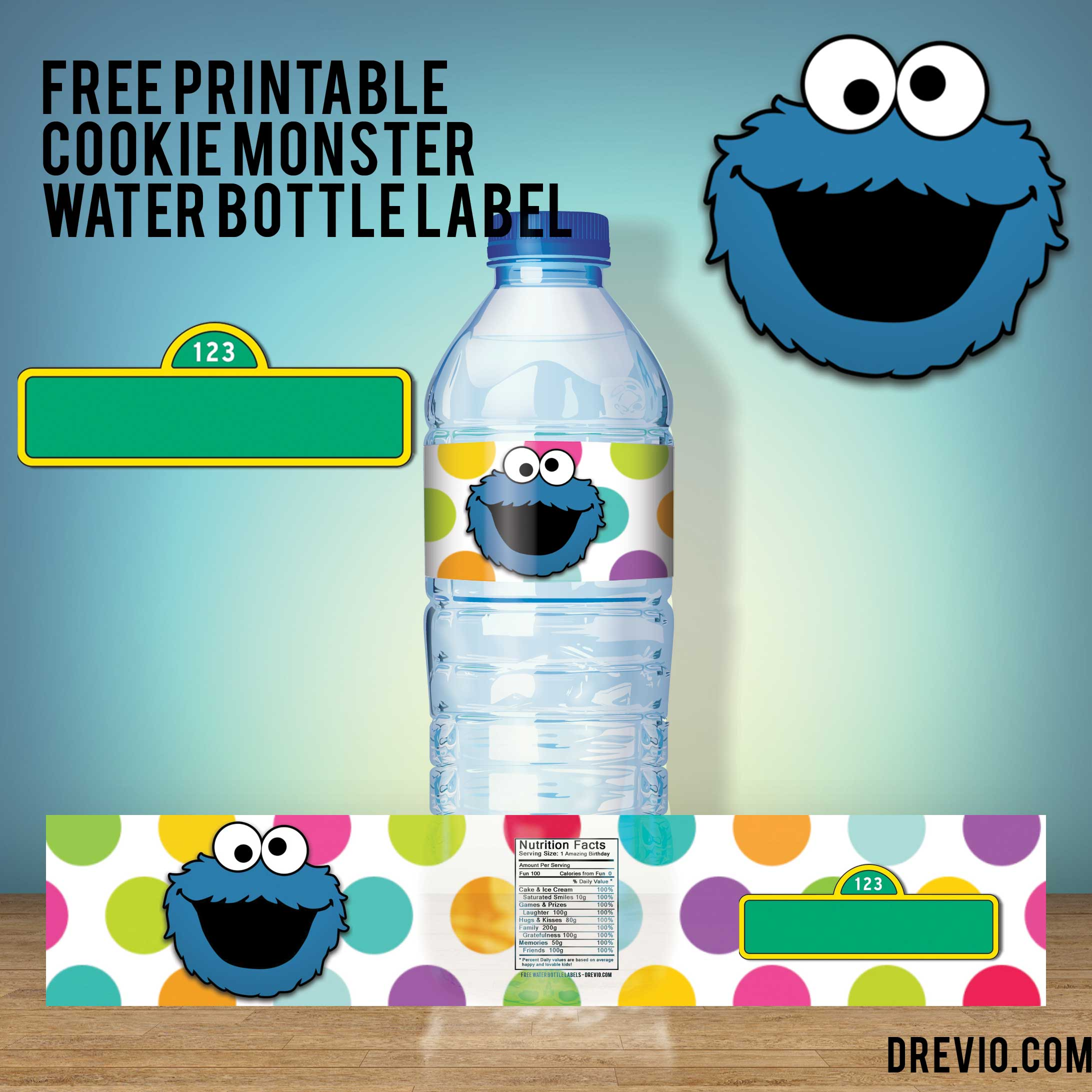 FREE Printable Cookie Monster Water Bottle Label FREE Invitation - Free printable water bottle label template