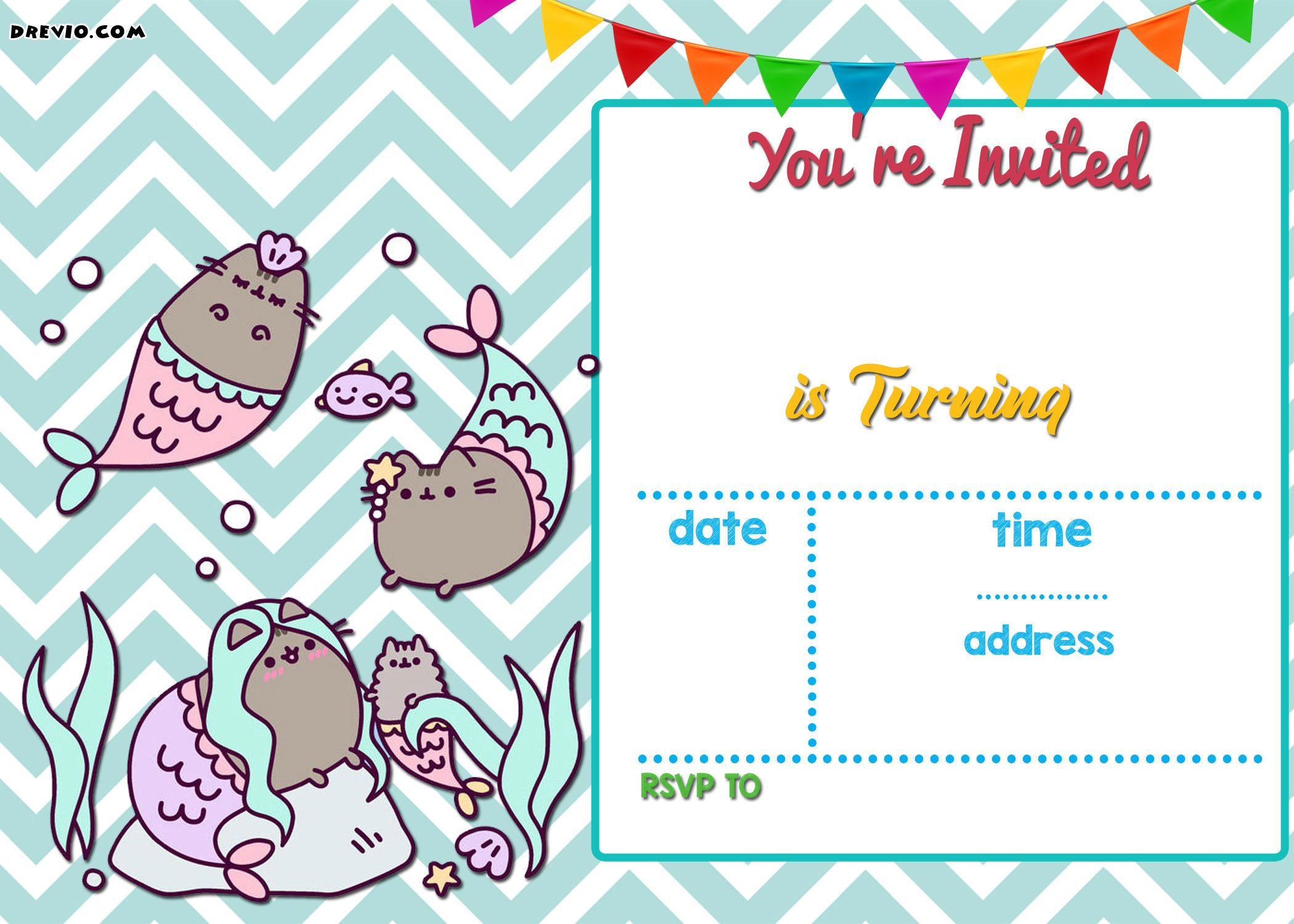 FREE Mermaid Pusheen Invitation Templates | Drevio ...