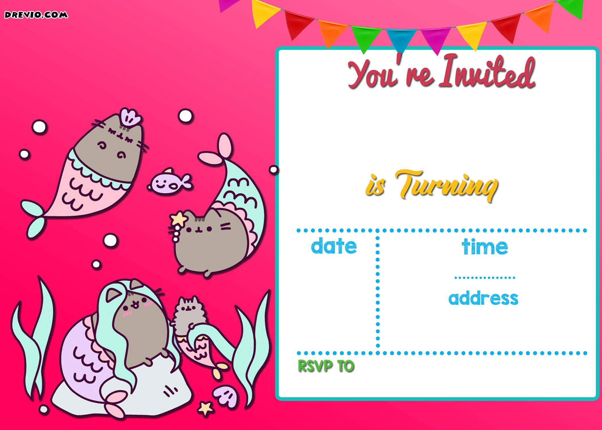 free mermaid pusheen invitation templates