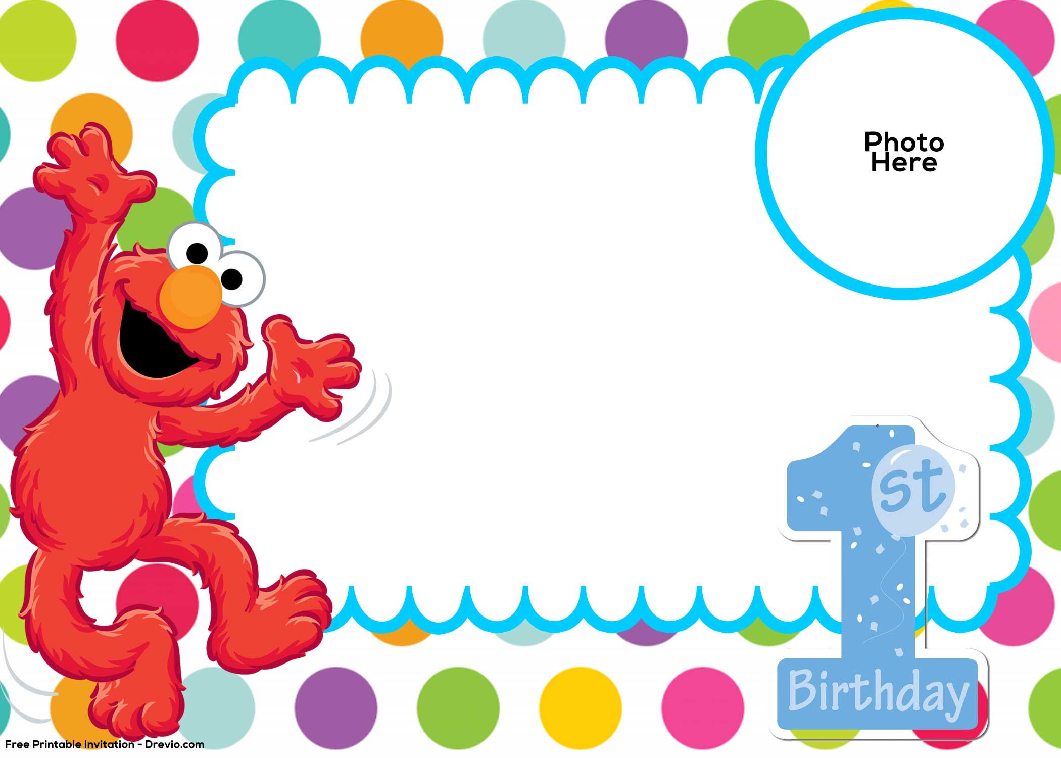Free sesame street 1st birthday invitation template free for Elmo template for invitations