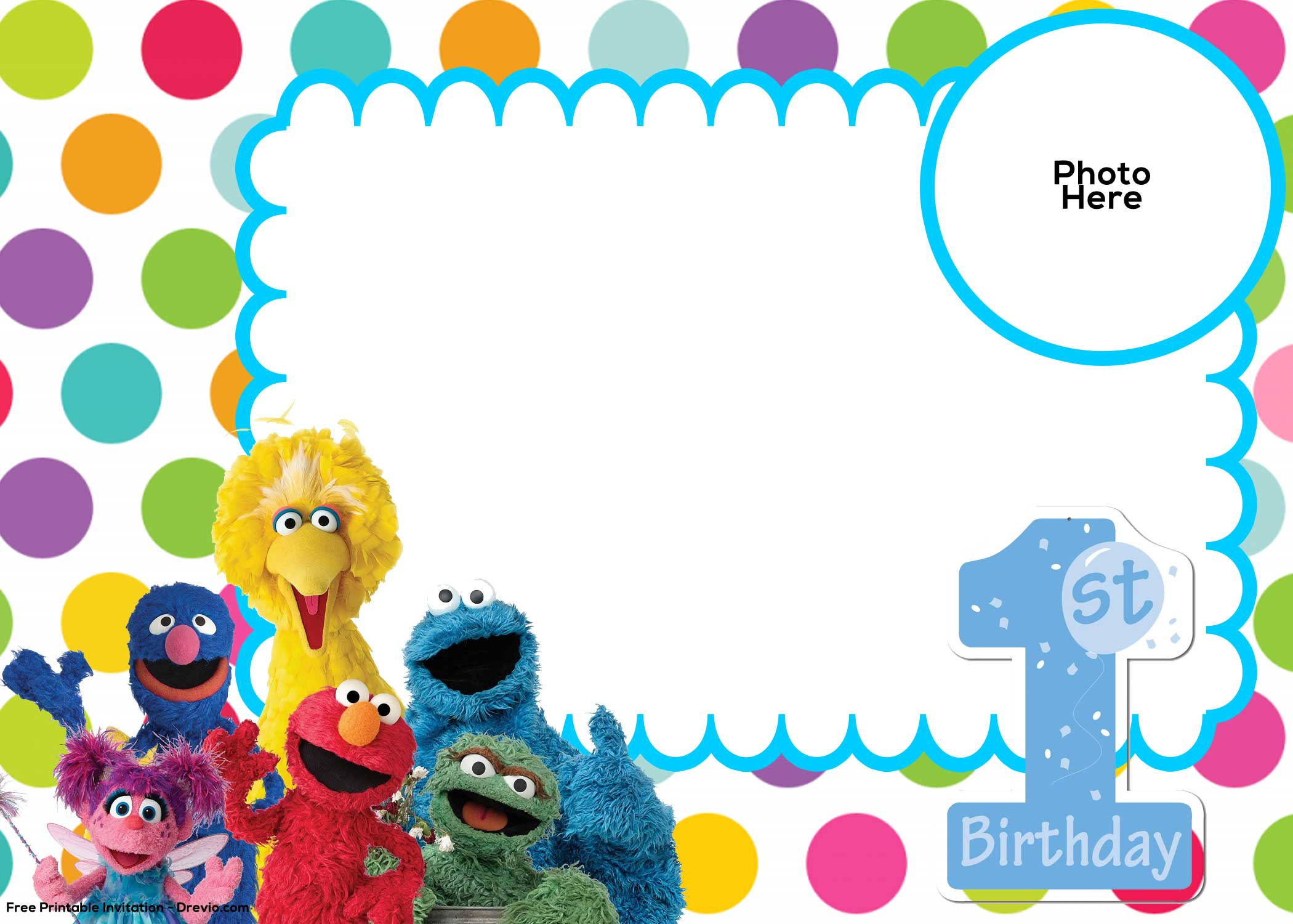 Free Sesame Street 1st Birthday Invitation Template | FREE ...