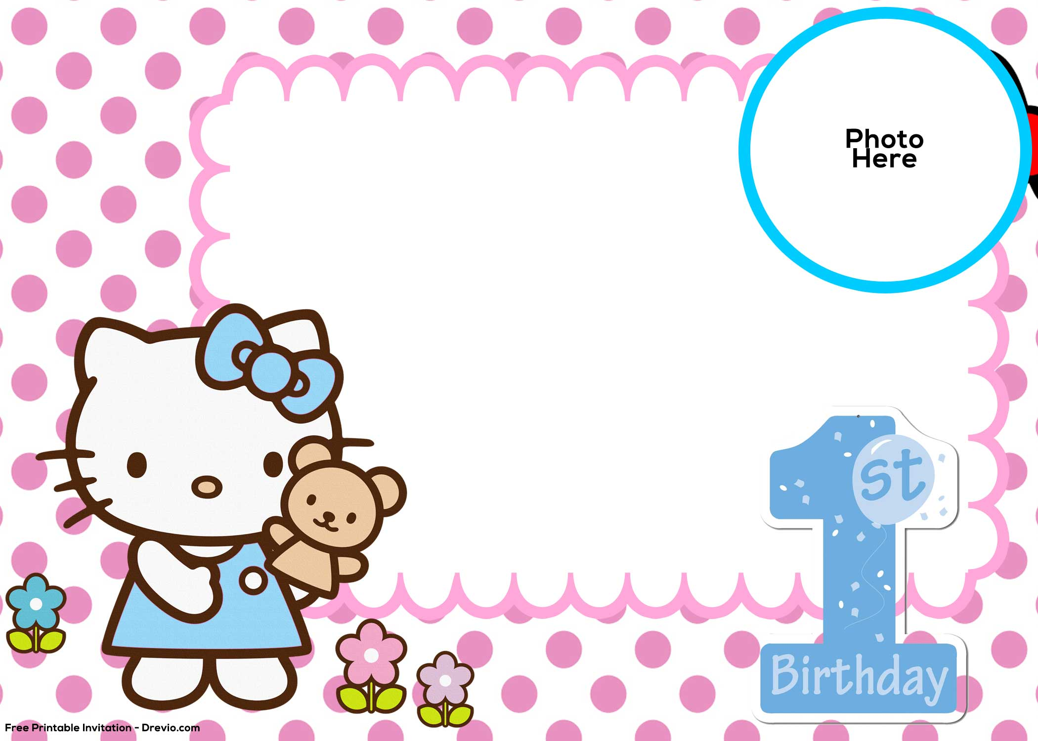 FREE Hello Kitty 1st Birthday Invitation Template FREE Invitation