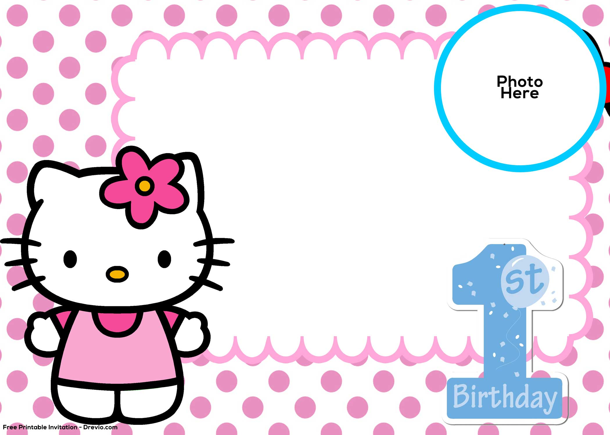 FREE Hello Kitty St Birthday Invitation Template Drevio - Free hello kitty birthday invitation templates