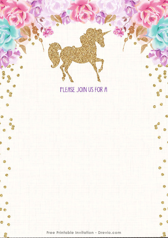 Free printable golden unicorn birthday invitation template free birthday party details on it you can write it down with a pen or a marker if you are able to operate photoshop or coreldraw then you will be able to filmwisefo