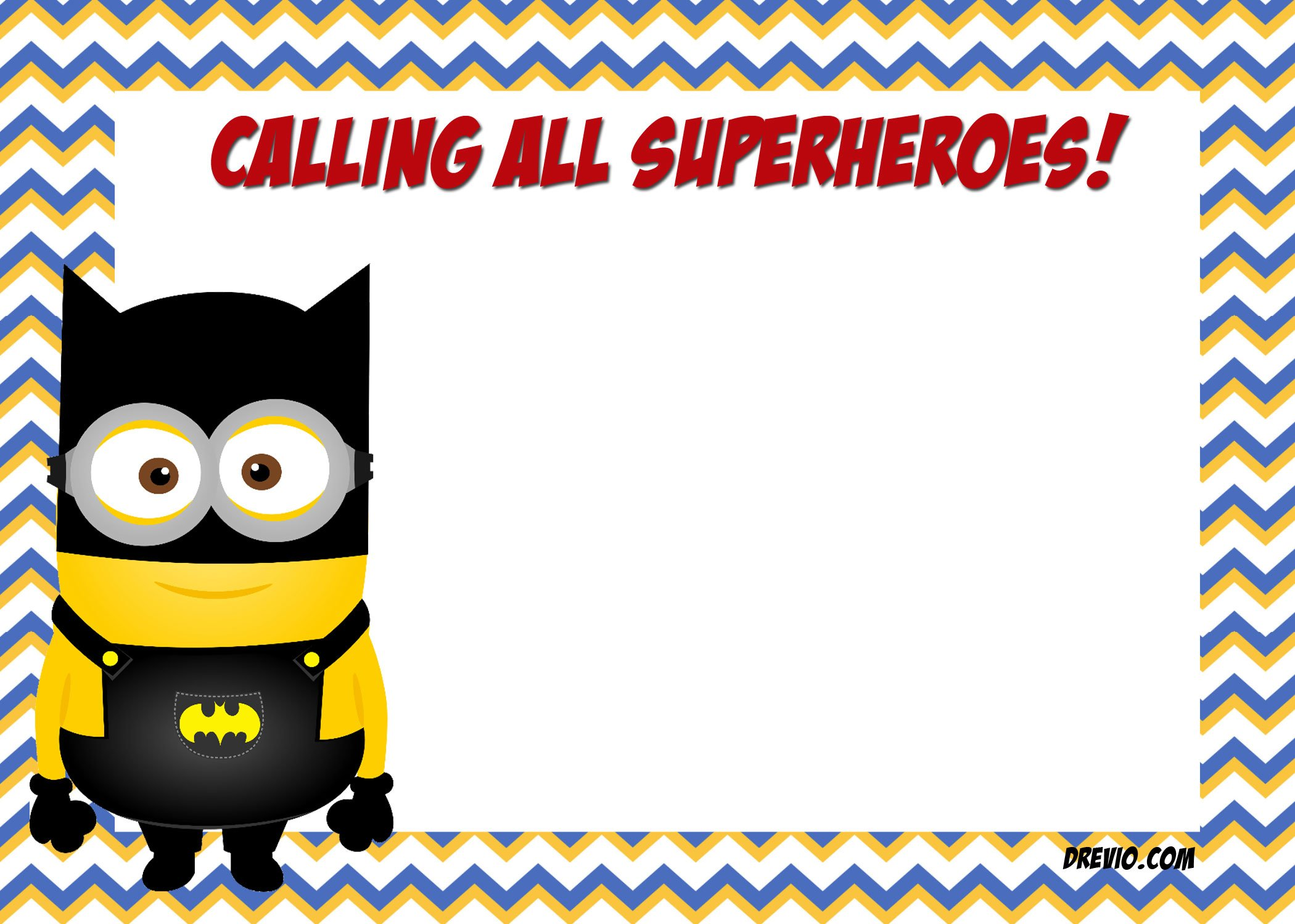 free printable minion justice league invitations template