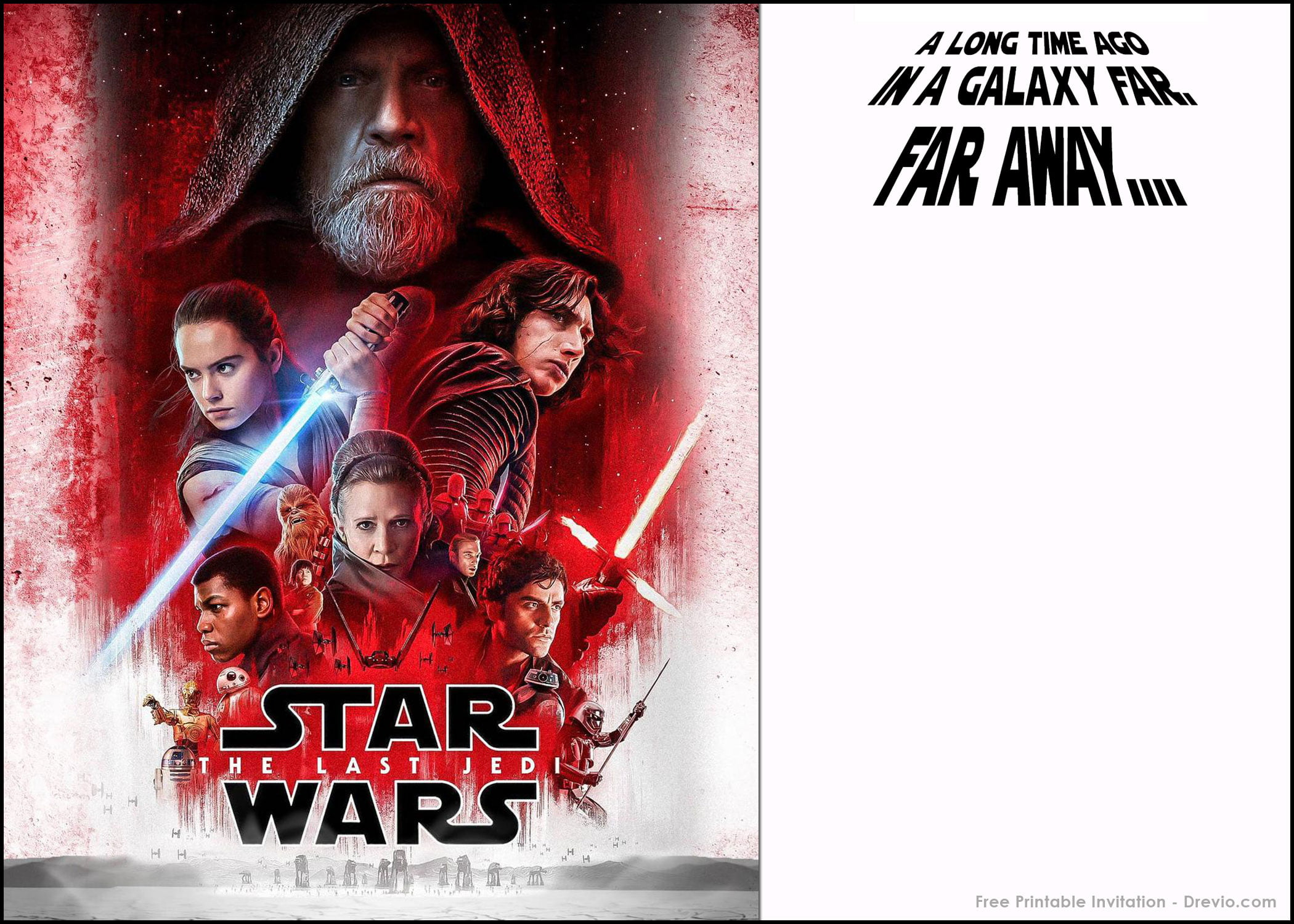Simply Click The Invitation And Save Image As You Can Download This FREE Printable Star Wars Last Jedi For Free