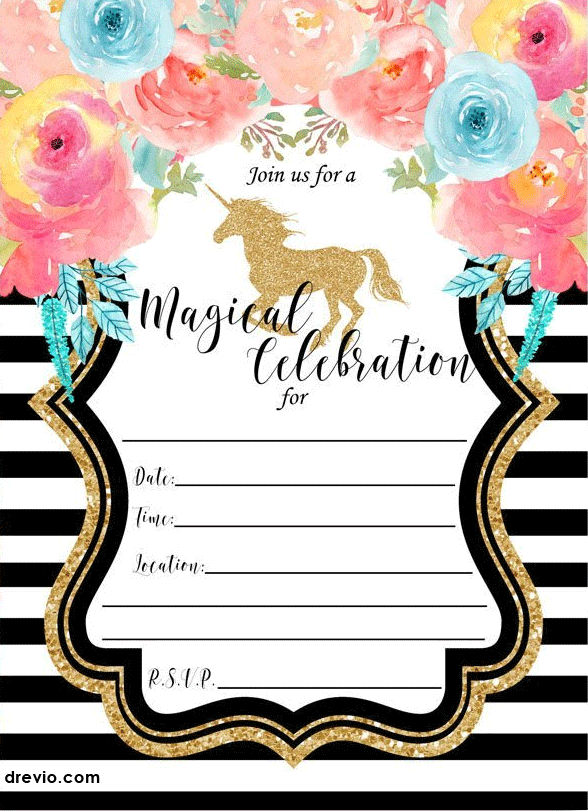 Free printable golden unicorn birthday invitation template free simply click the invitation and save the image as you can download this free printable unicorn invitation for free filmwisefo