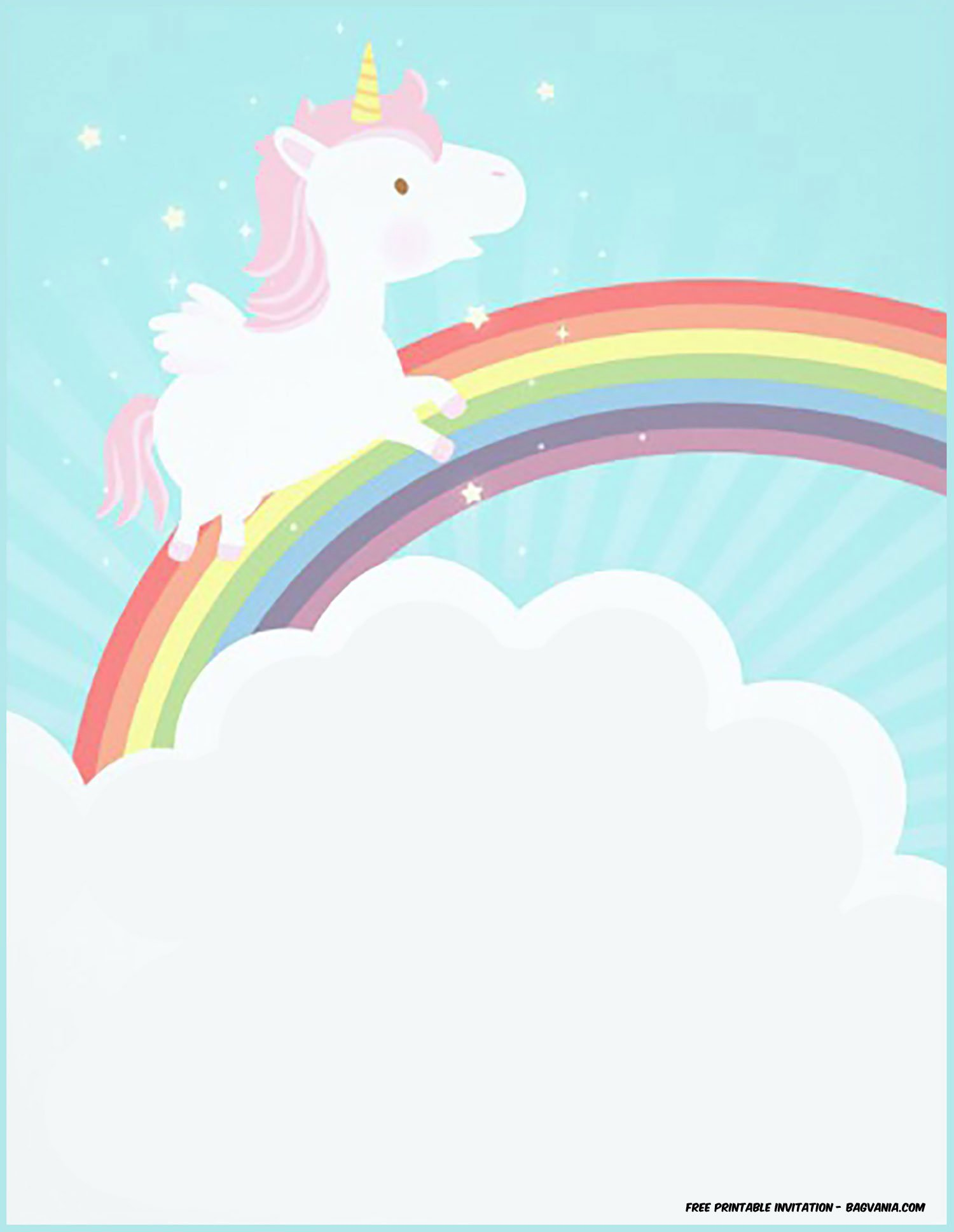 Unicorn Birthday Invitation Template Blank