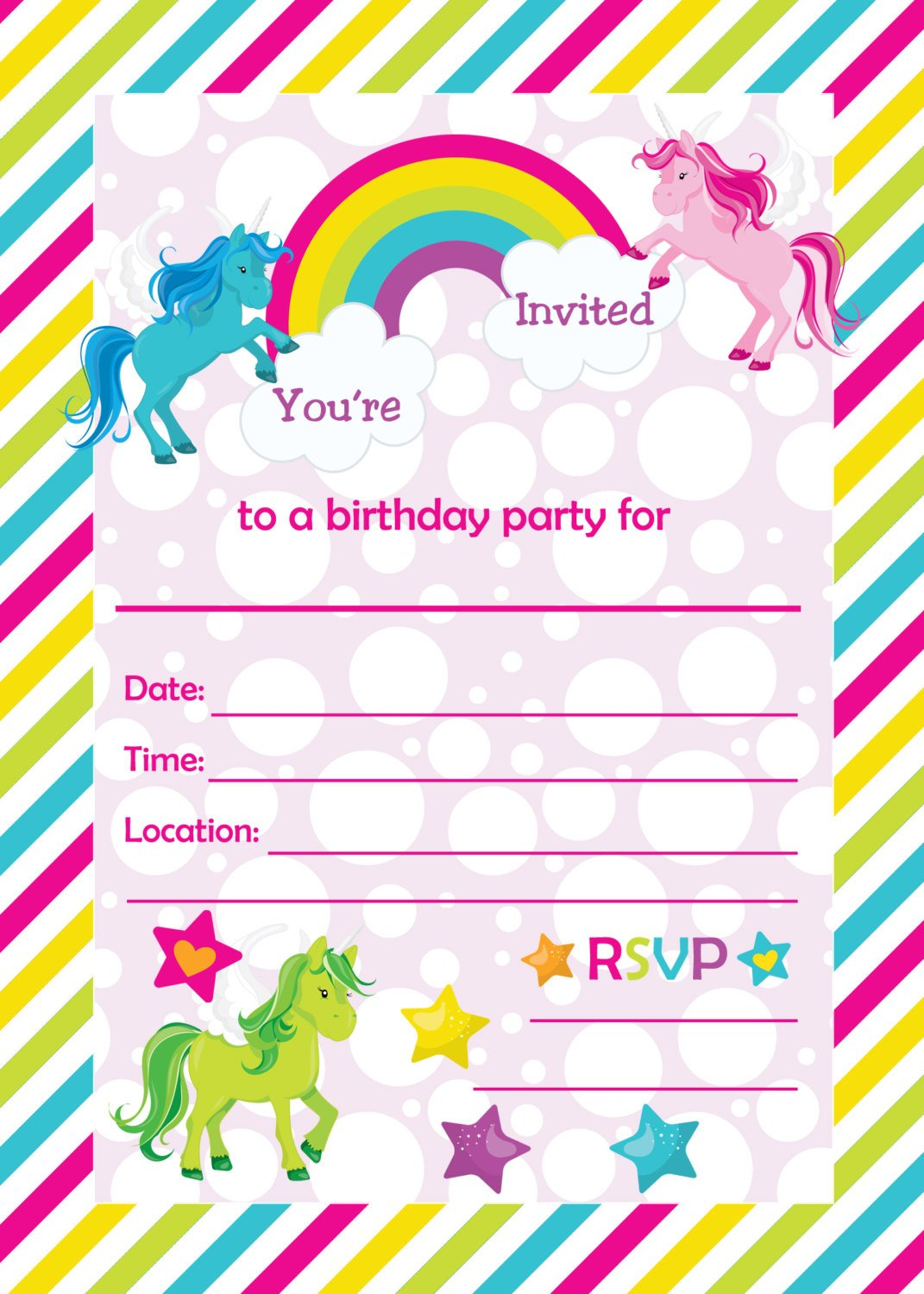 FREE Printable Golden Unicorn Birthday Invitation Template Drevio - Free printable birthday party invitations templates