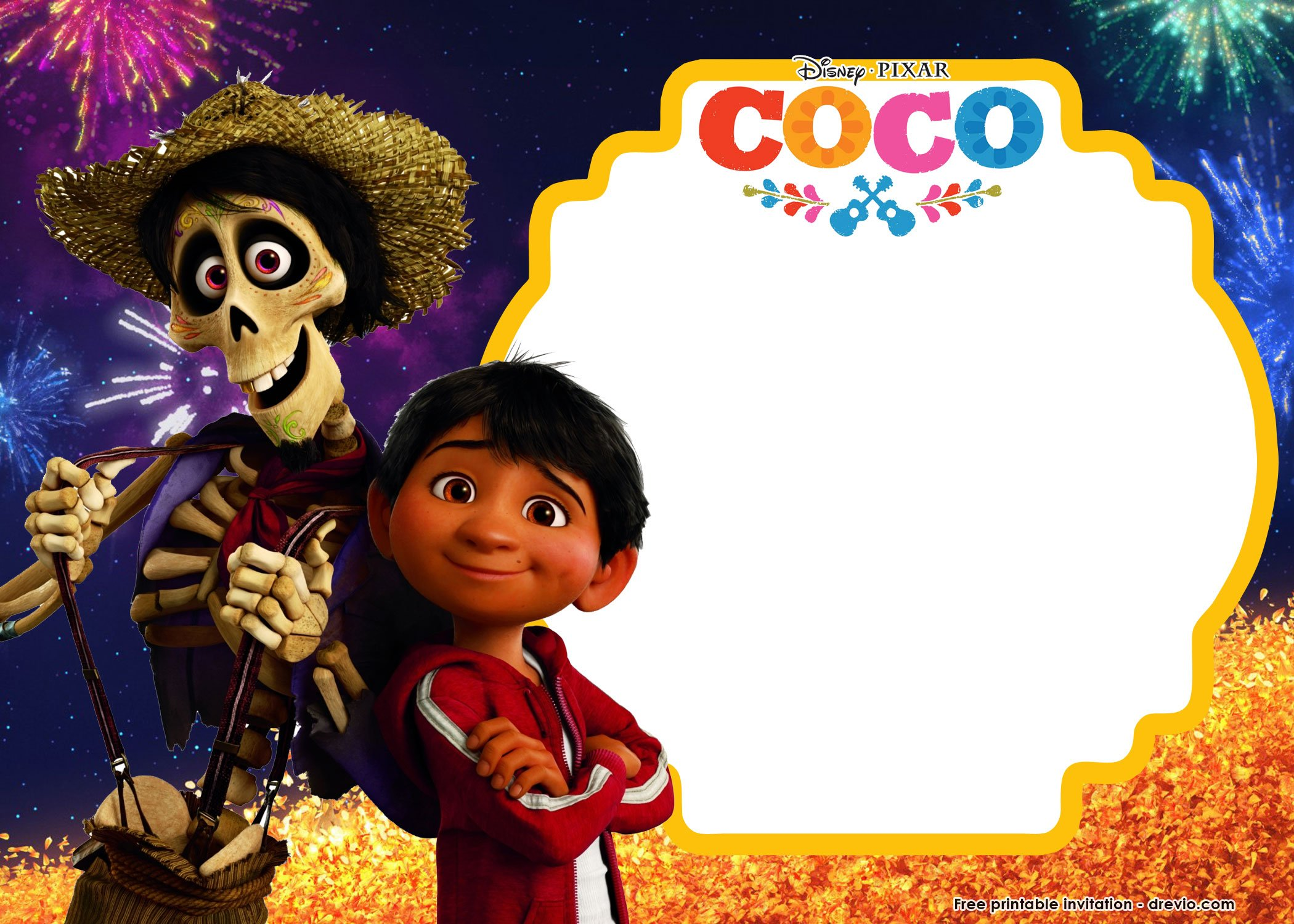 FREE Printable Disney COCO Birthday Invitation Templates FREE