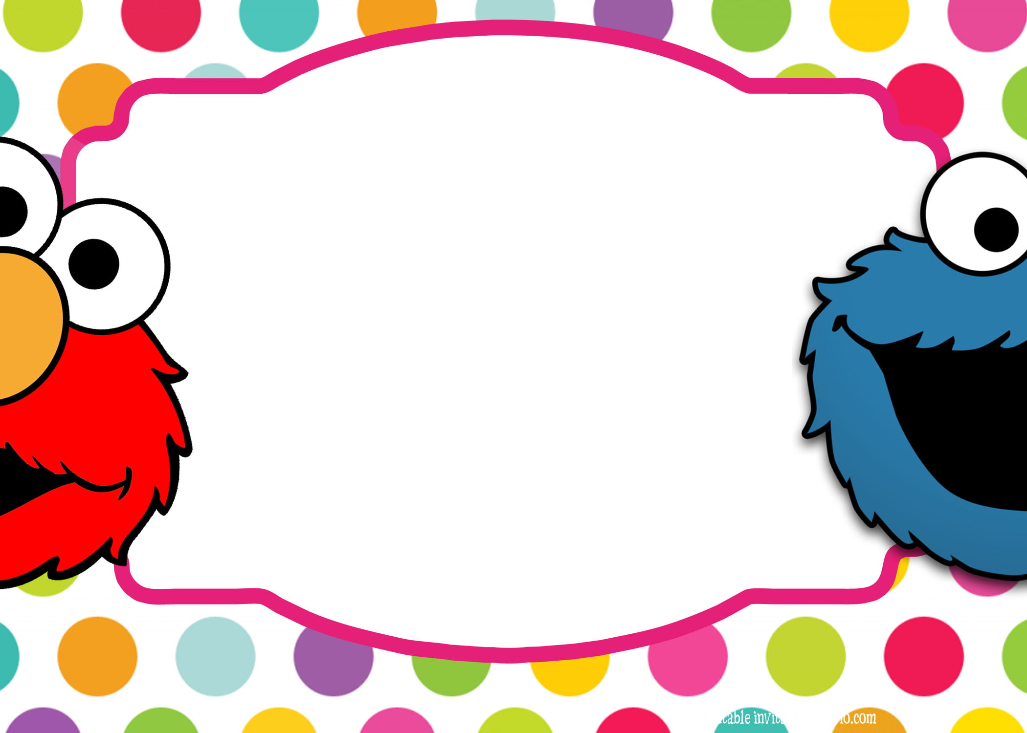 Sesame street twin birthday invitation template free for Elmo template for invitations