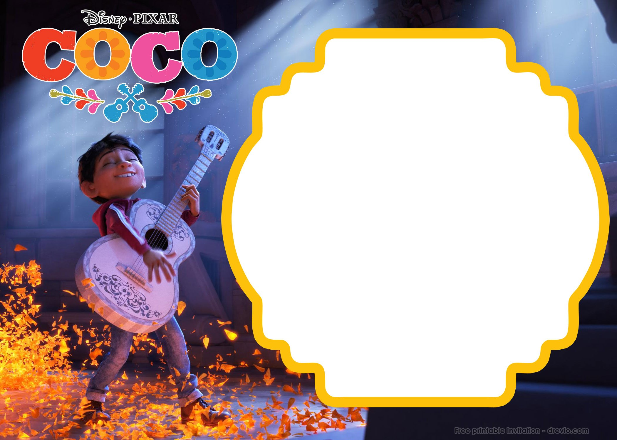 FREE Printable Disney COCO Birthday Invitation Templates | Drevio Invitations Design